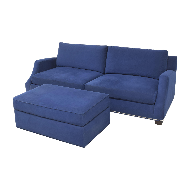Ethan Allen Ethan Allen Nailhead Sofa with Storage Ottoman second hand