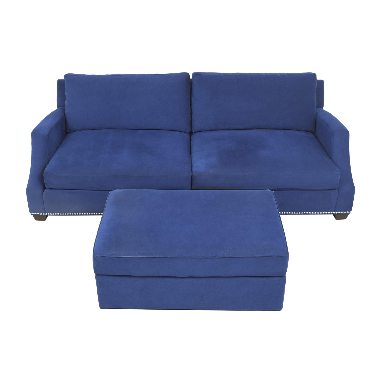 Ethan Allen Ethan Allen Nailhead Sofa with Storage Ottoman dimensions