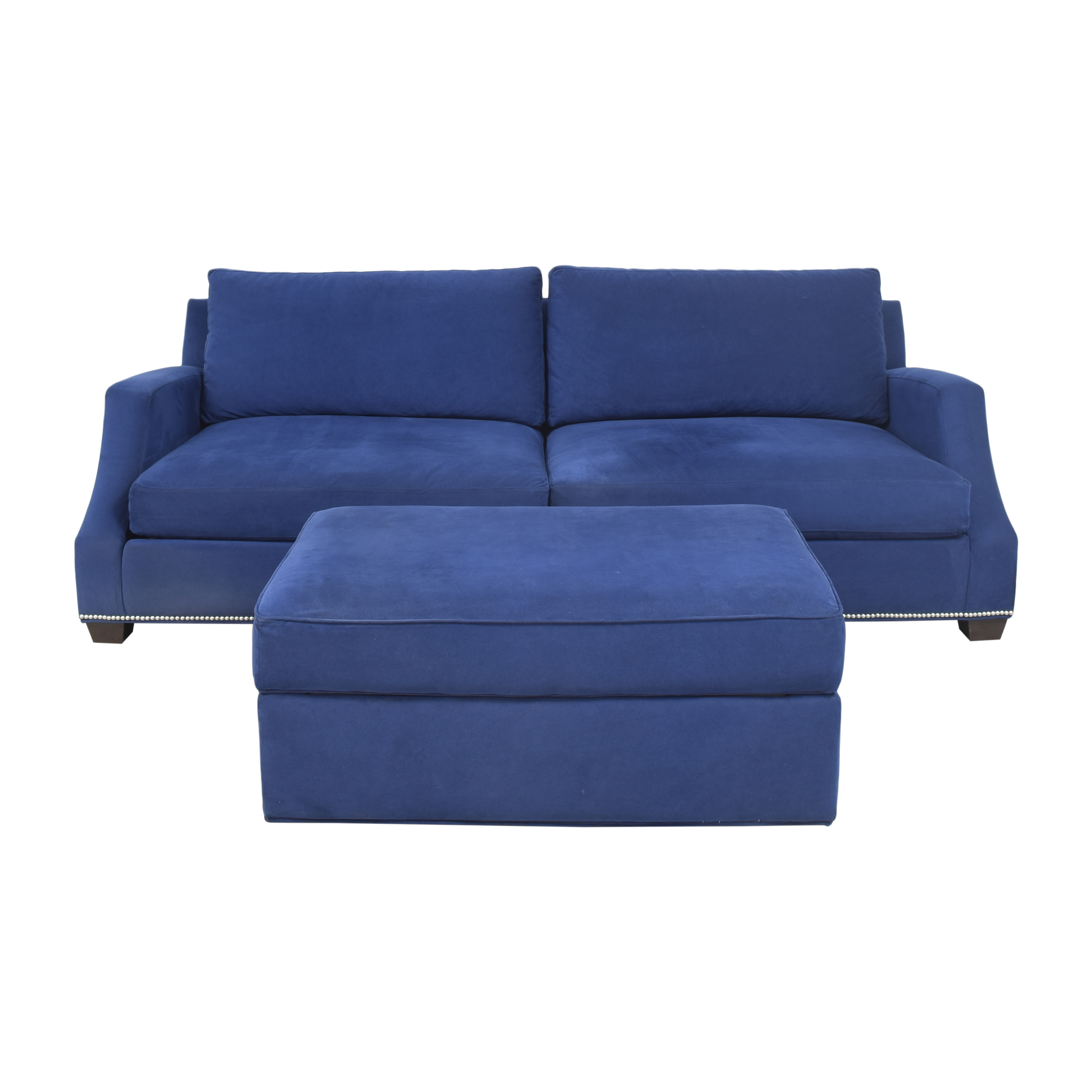 Ethan Allen Nailhead Sofa with Storage Ottoman / Sofas