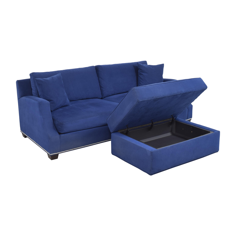 Ethan Allen Ethan Allen Nailhead Sofa with Storage Ottoman ma