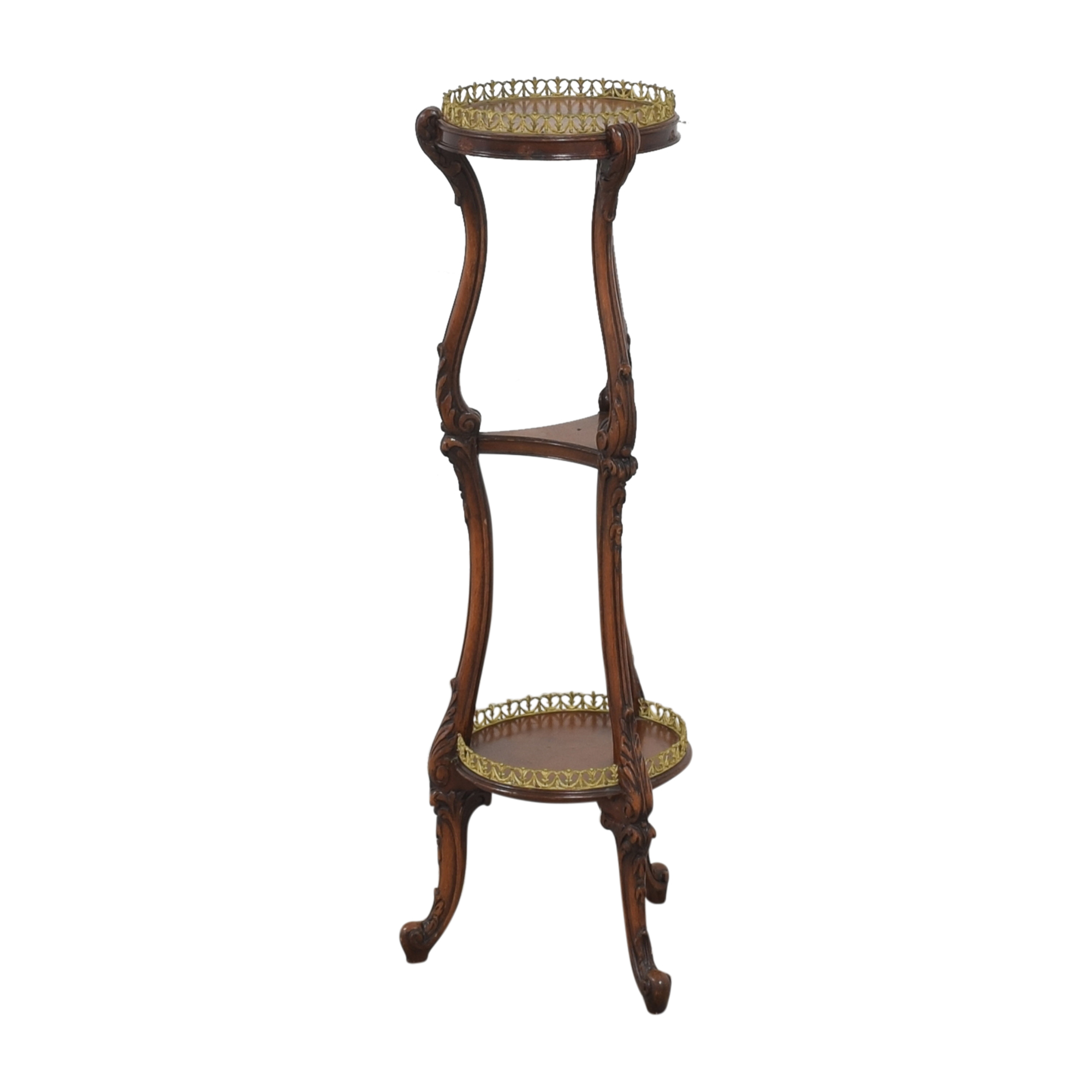Vintage Three Tier Stand brown & gold