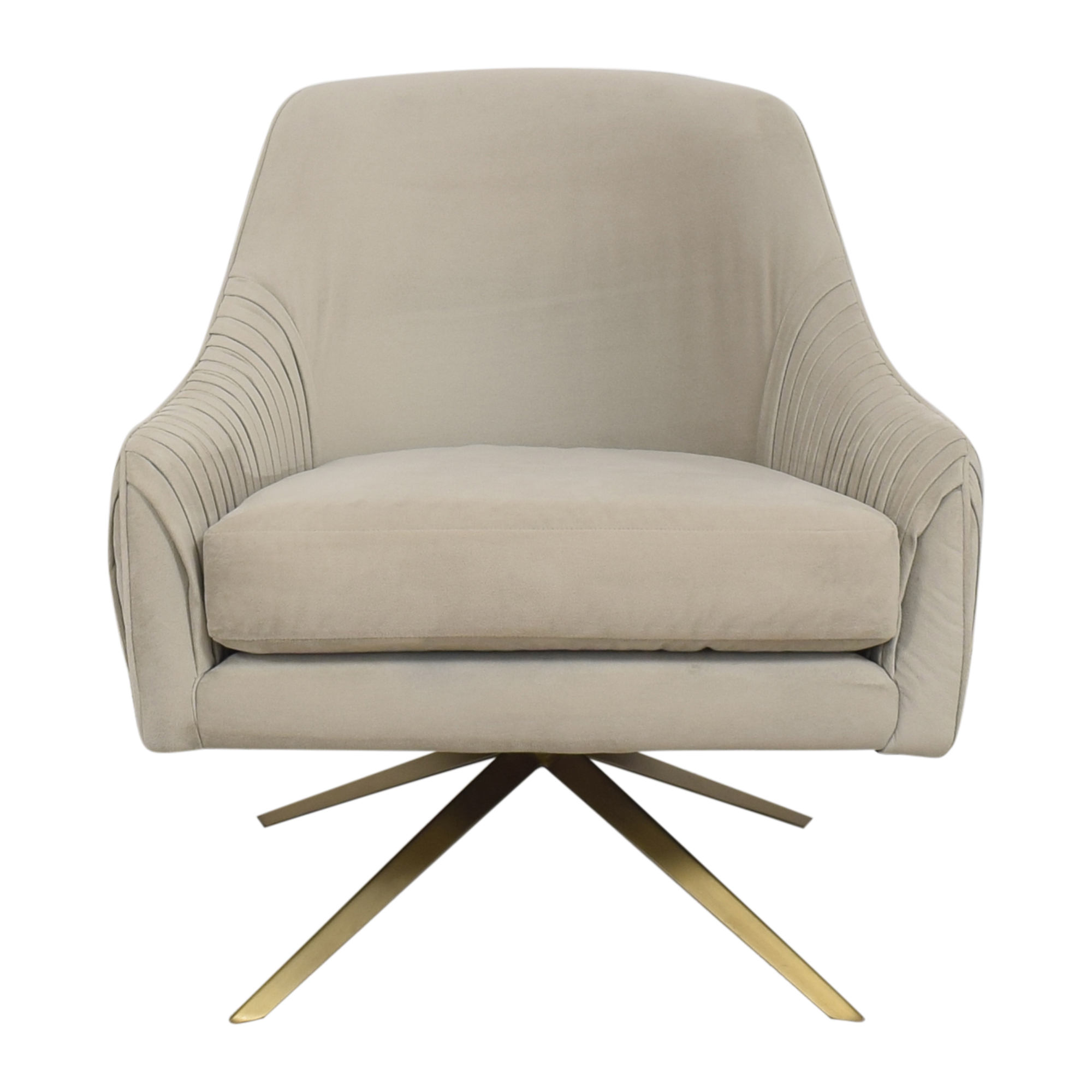 West Elm West Elm Roar & Rabbit Pleated Swivel Chair Beige