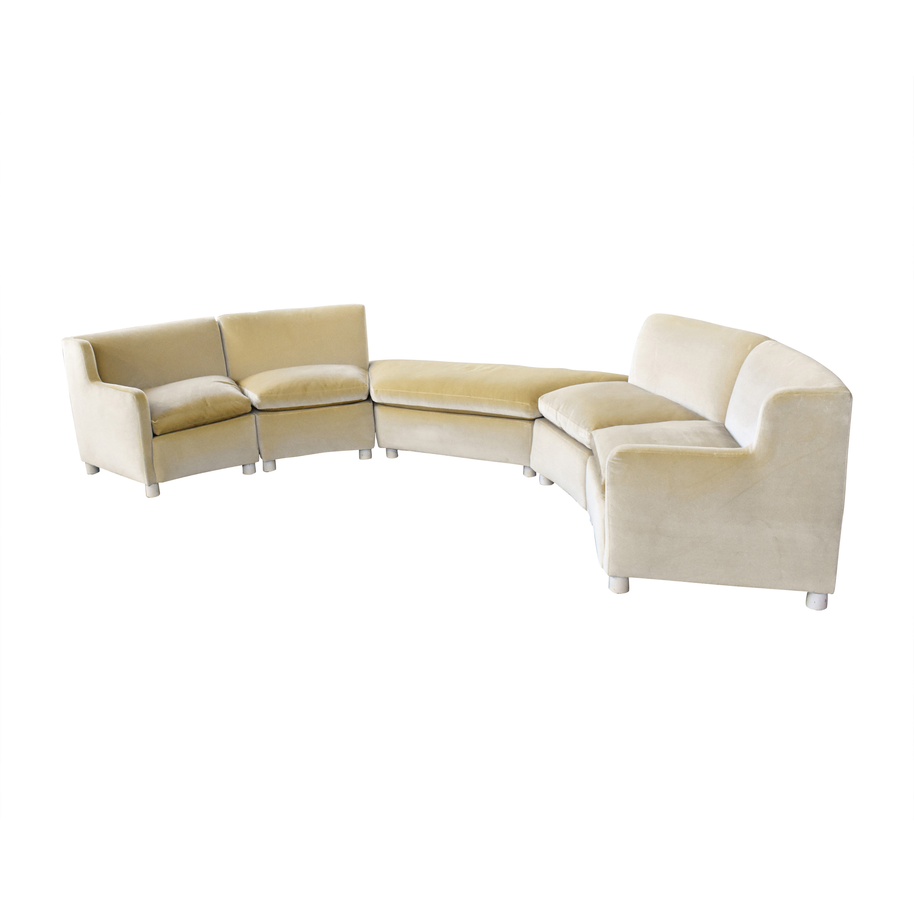 Curved Art Deco Sectional with Ottomans nyc