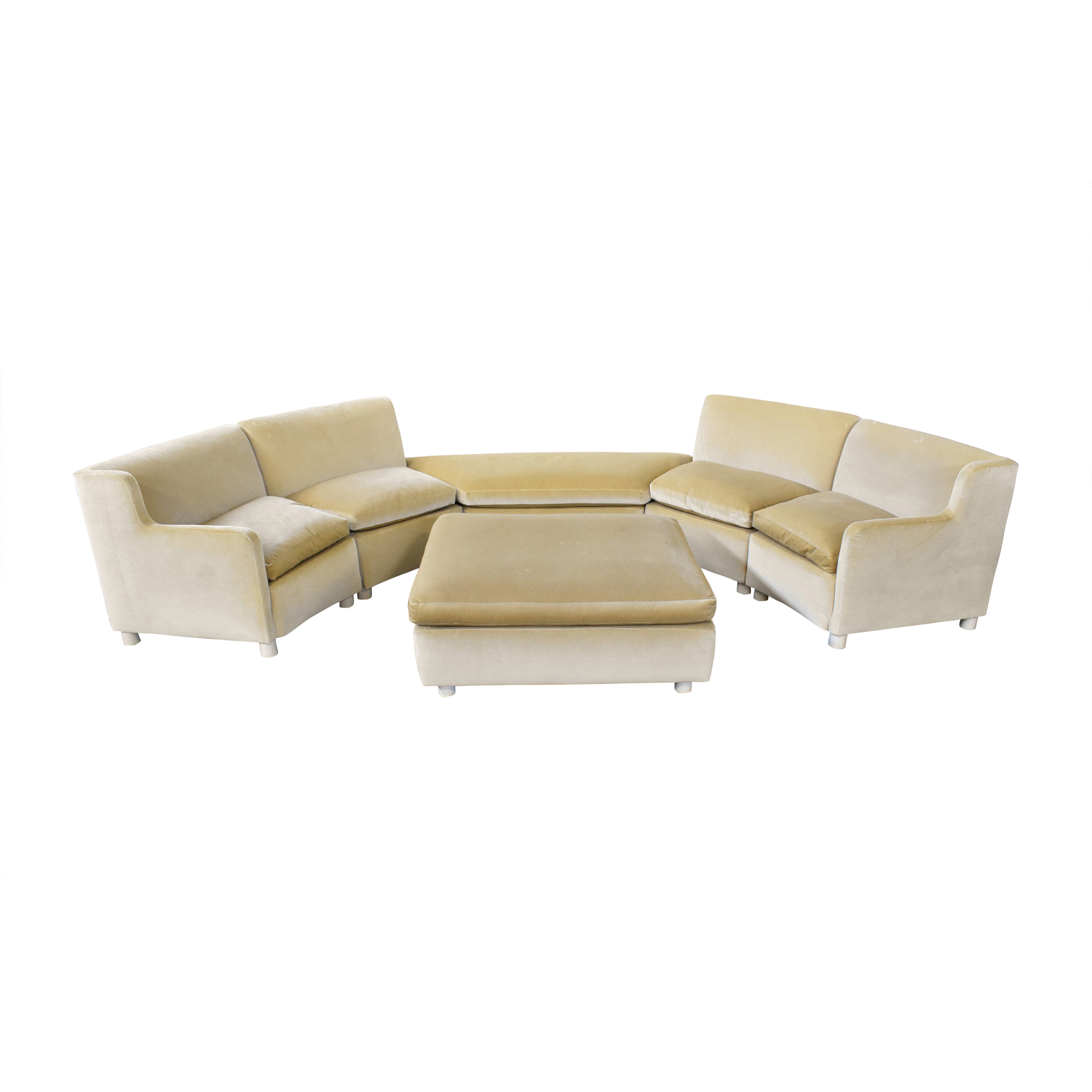 Curved Art Deco Sectional with Ottomans discount