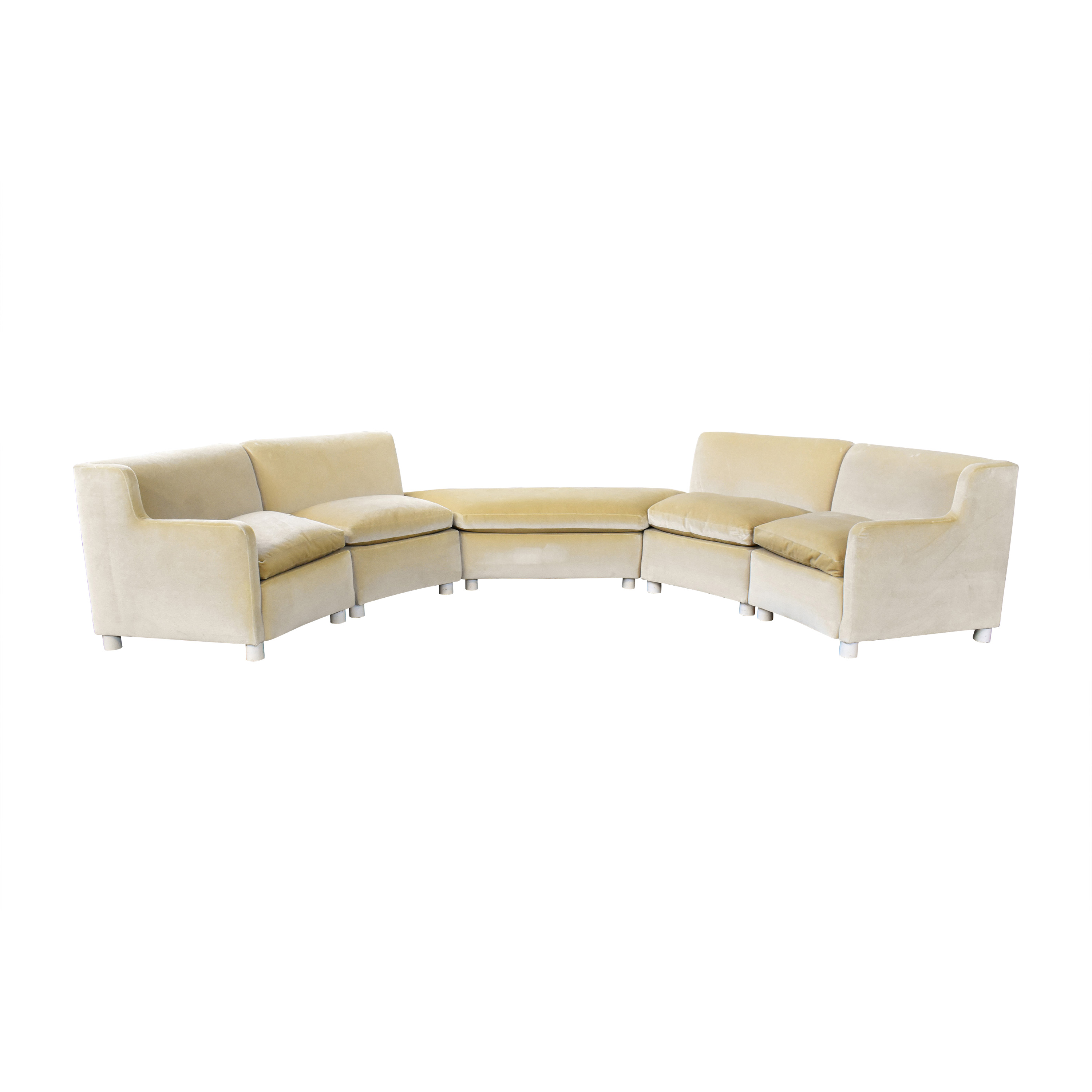 Curved Art Deco Sectional with Ottomans