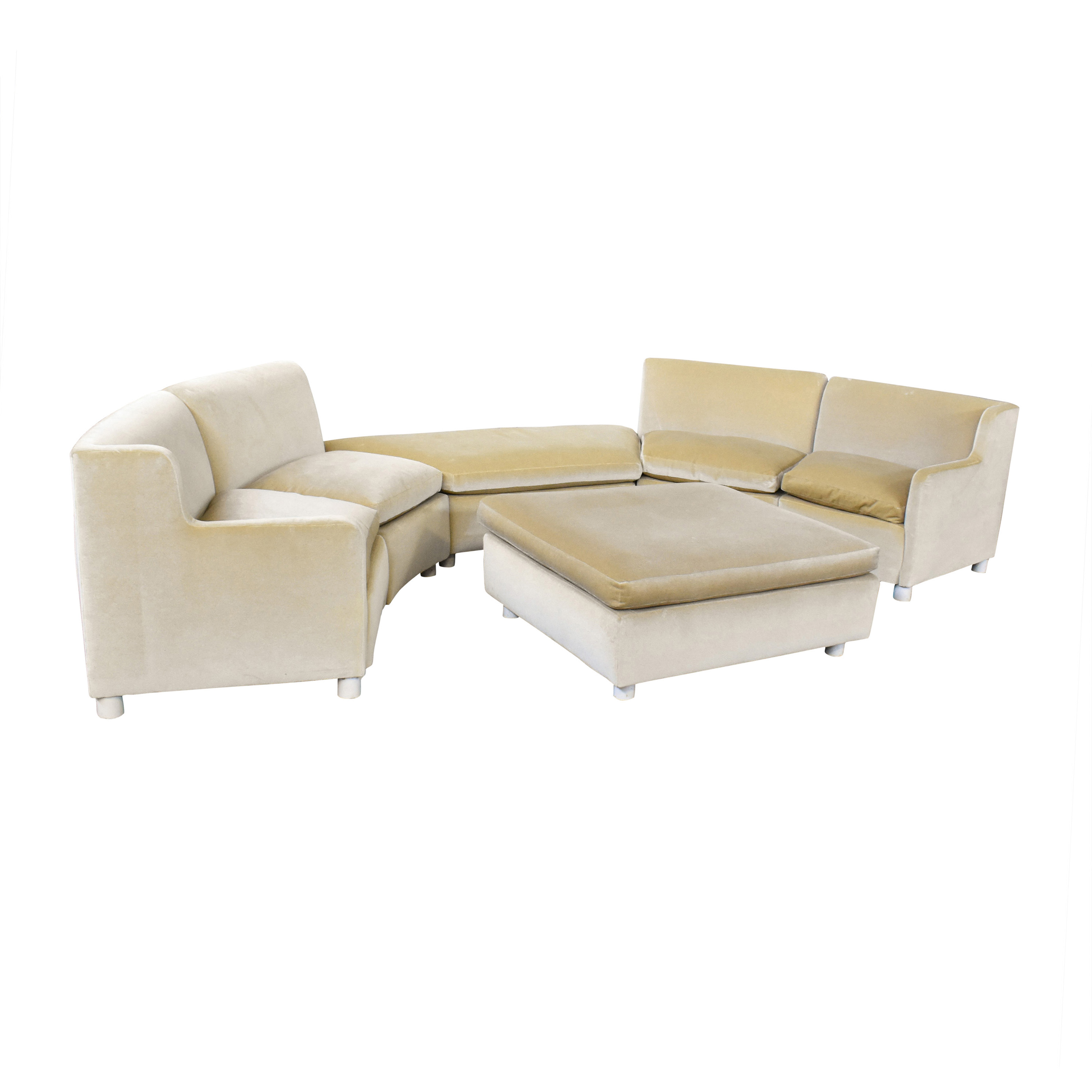 Curved Art Deco Sectional with Ottomans on sale