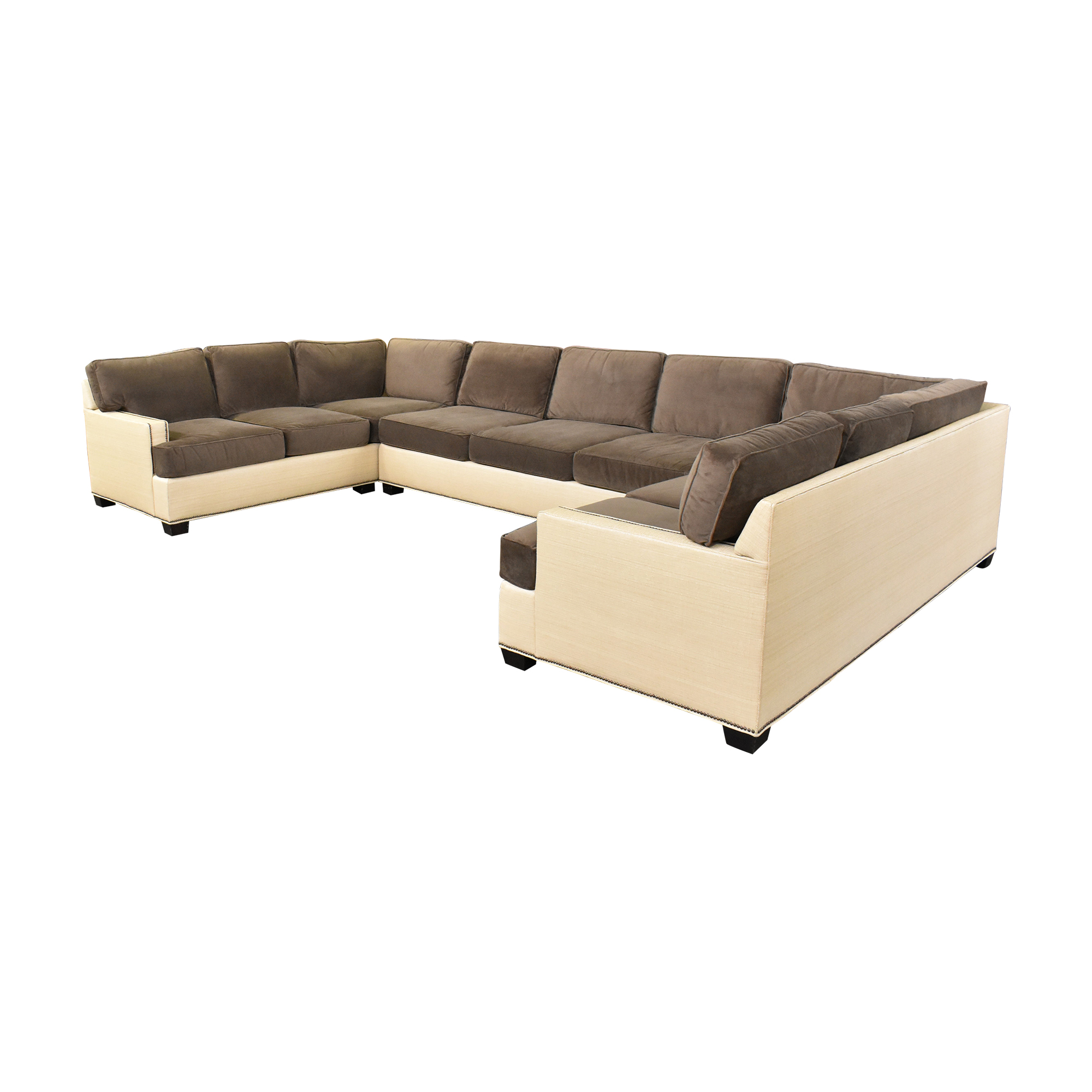 Two Tone U Sectional with Ottoman sale