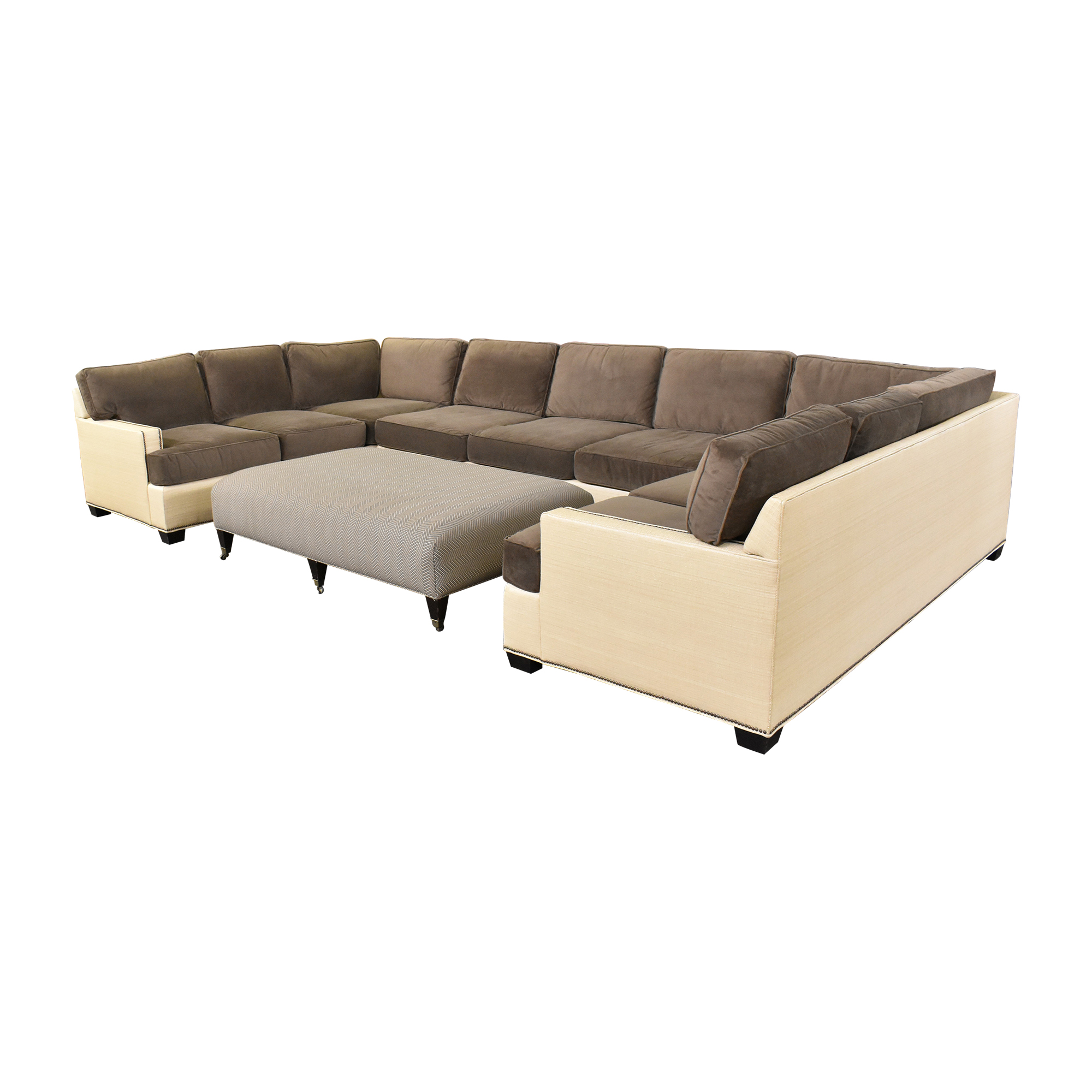 Two Tone U Sectional with Ottoman price