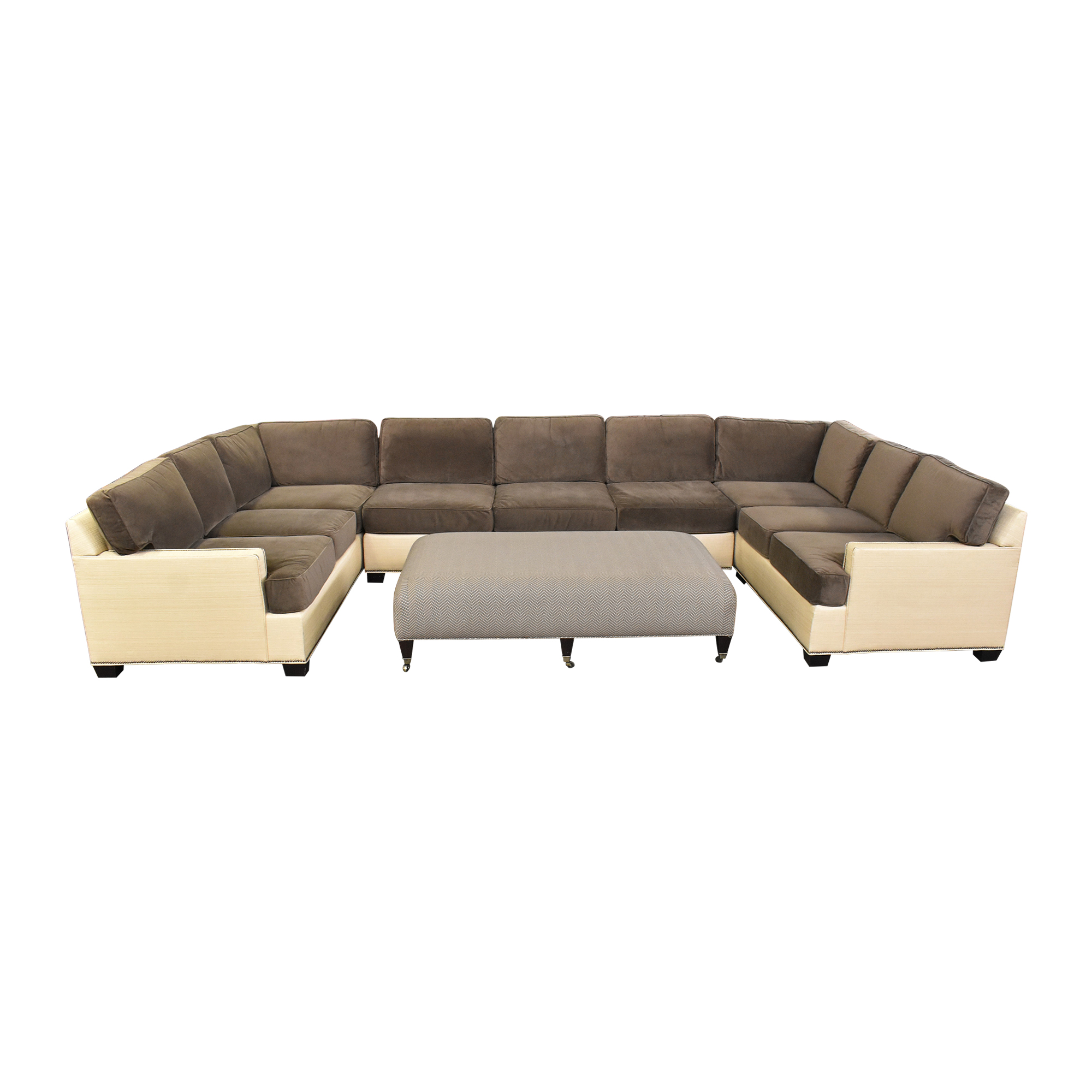Two Tone U Sectional with Ottoman discount
