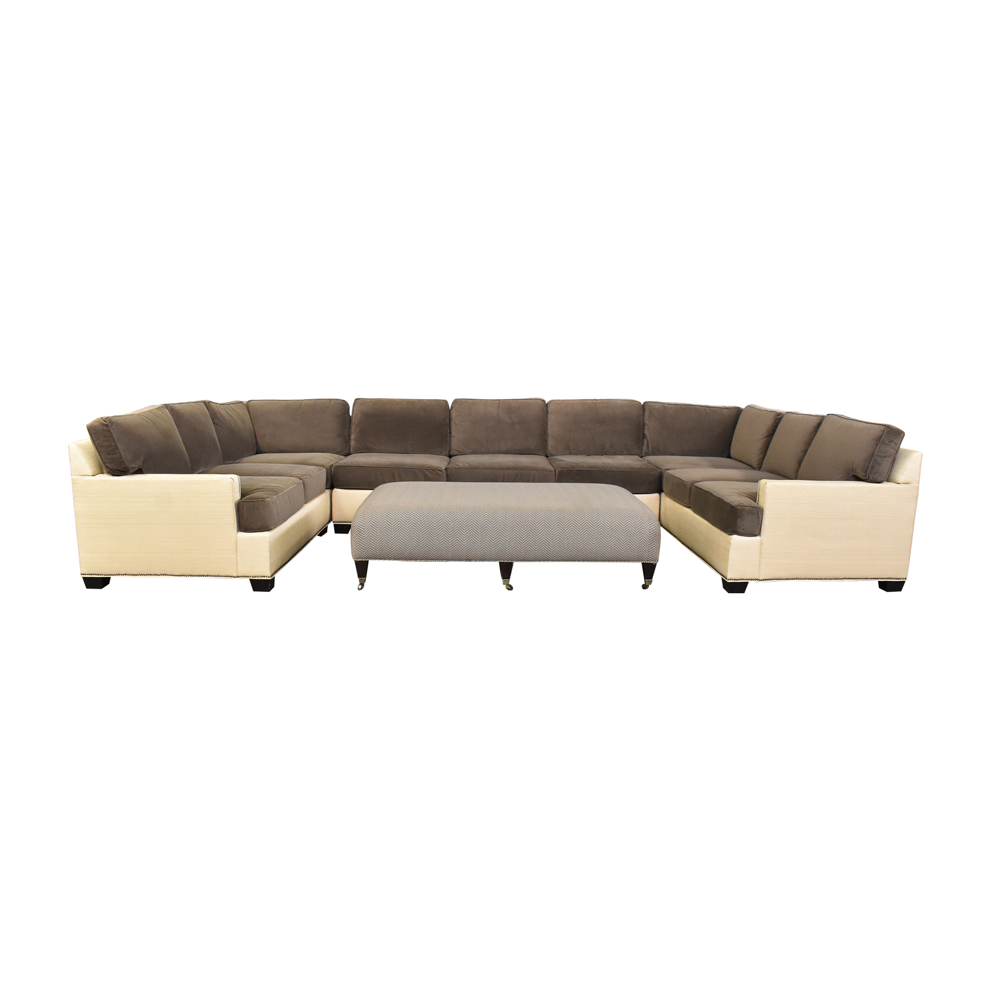 Two Tone U Sectional with Ottoman Sectionals