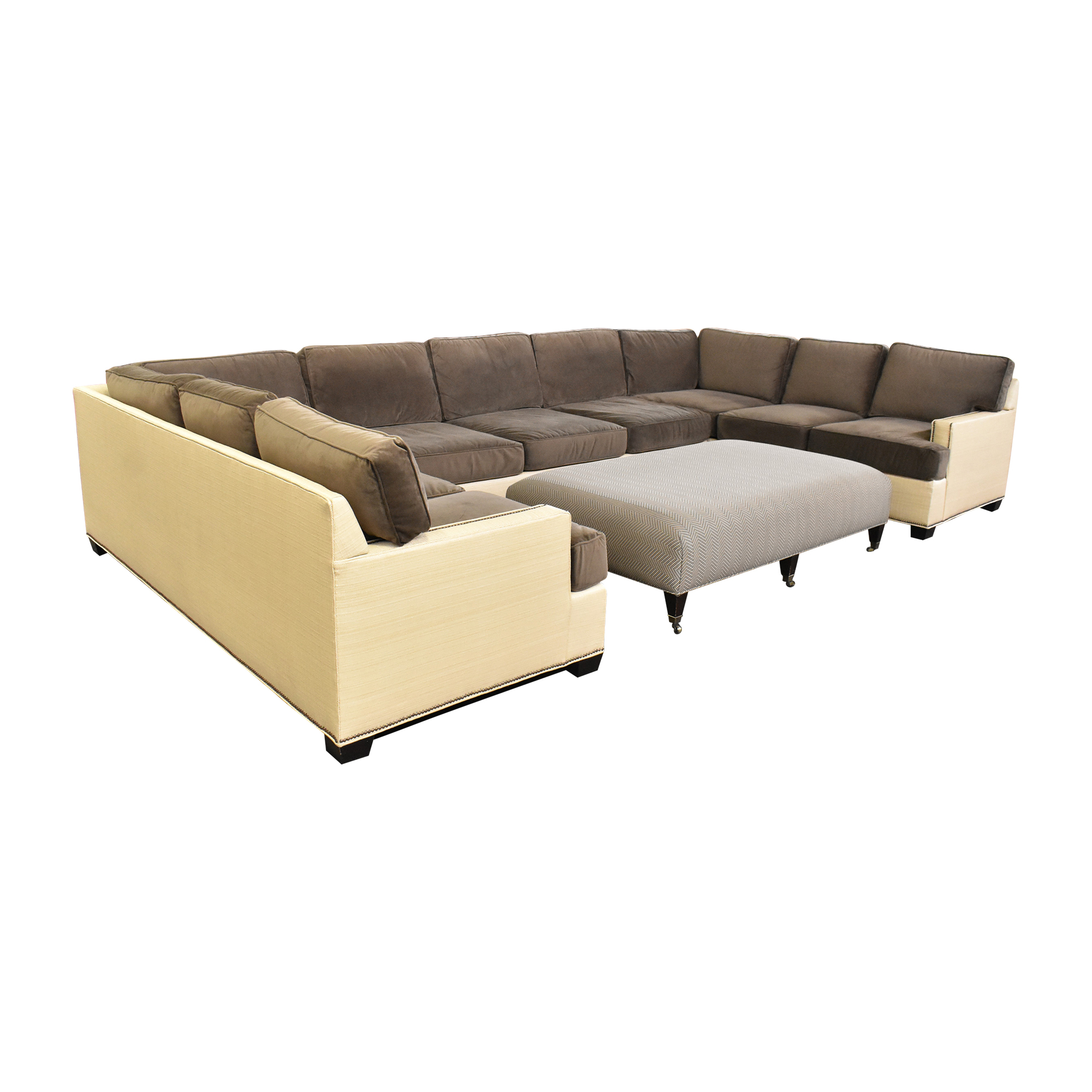 Two Tone U Sectional with Ottoman Sofas