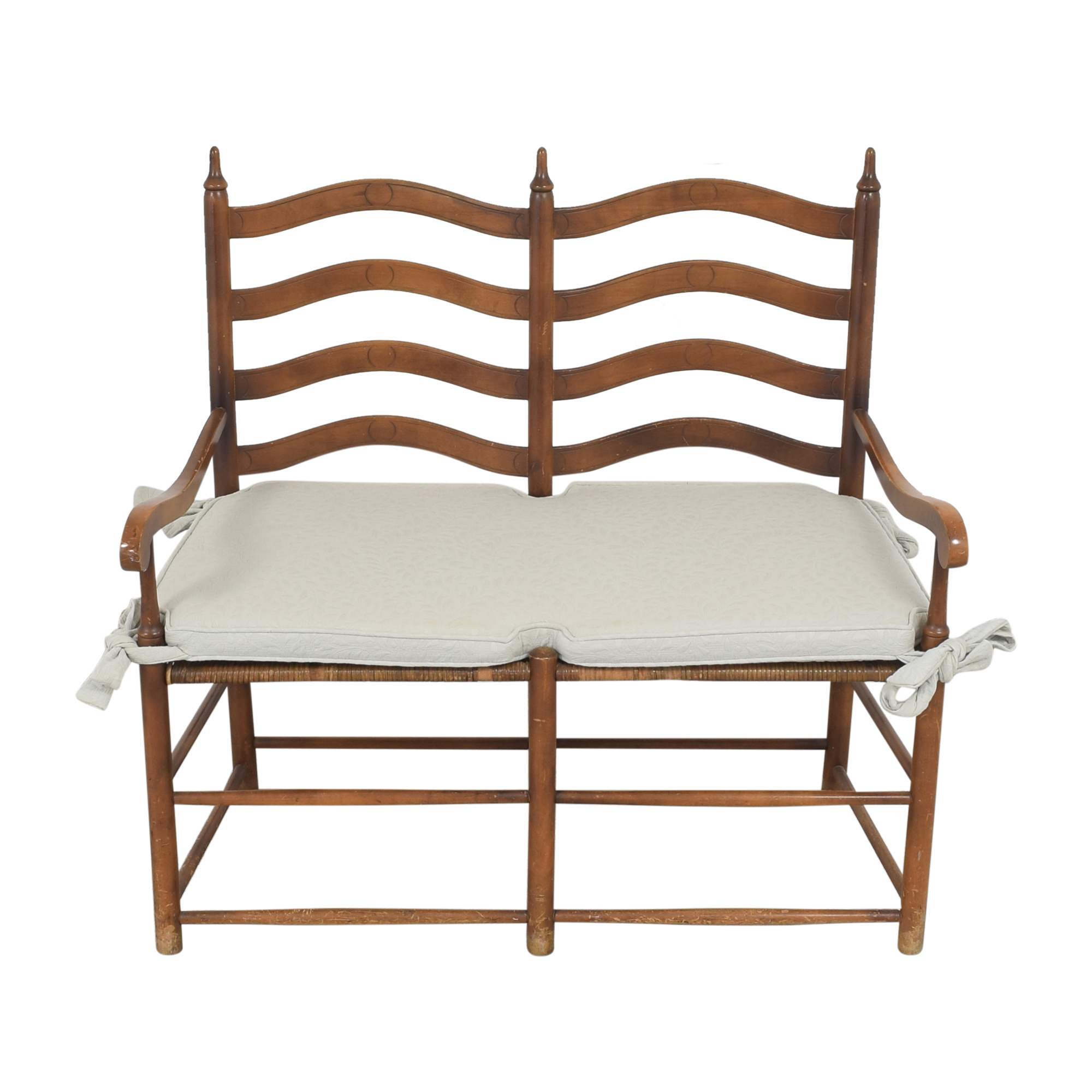 Ladderback Settee Bench with Cushion / Benches