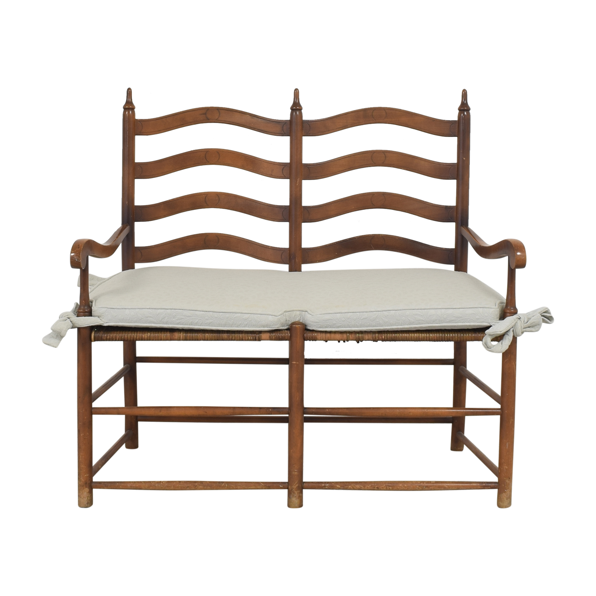 Ladderback Settee Bench with Cushion ma