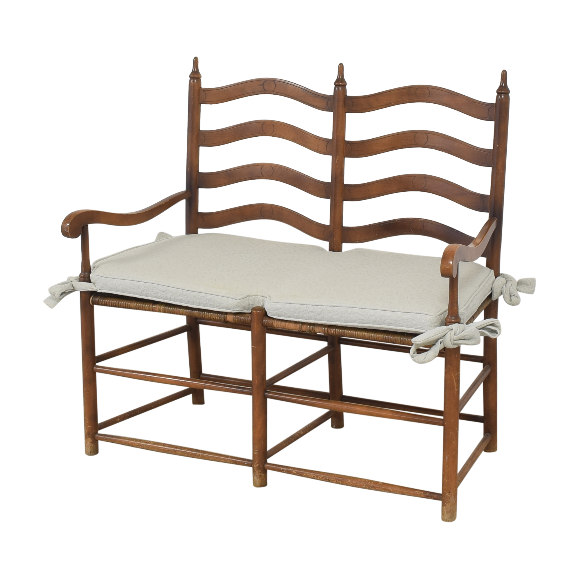 Ladderback Settee Bench with Cushion Chairs