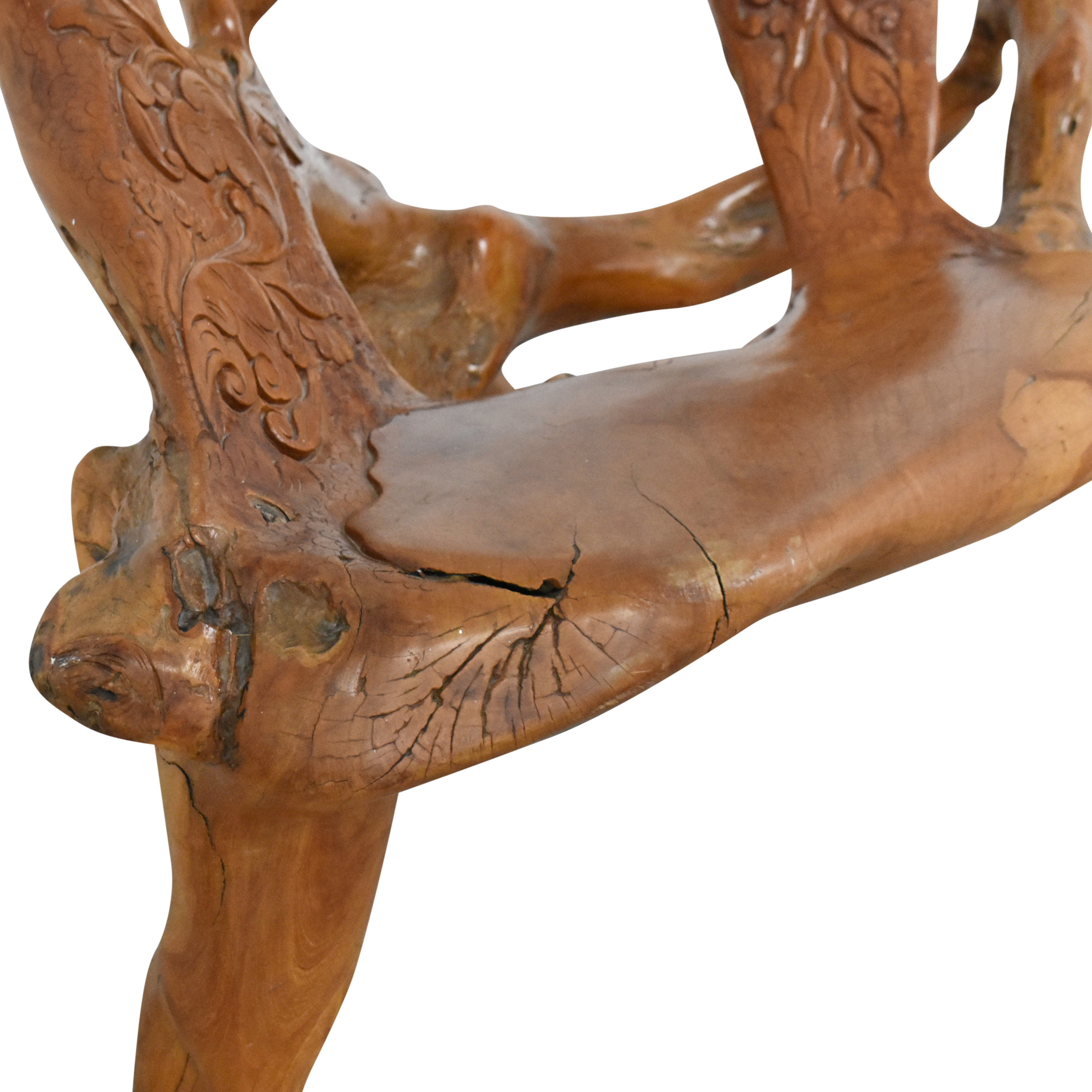 Carved Sculpture Accent Bench