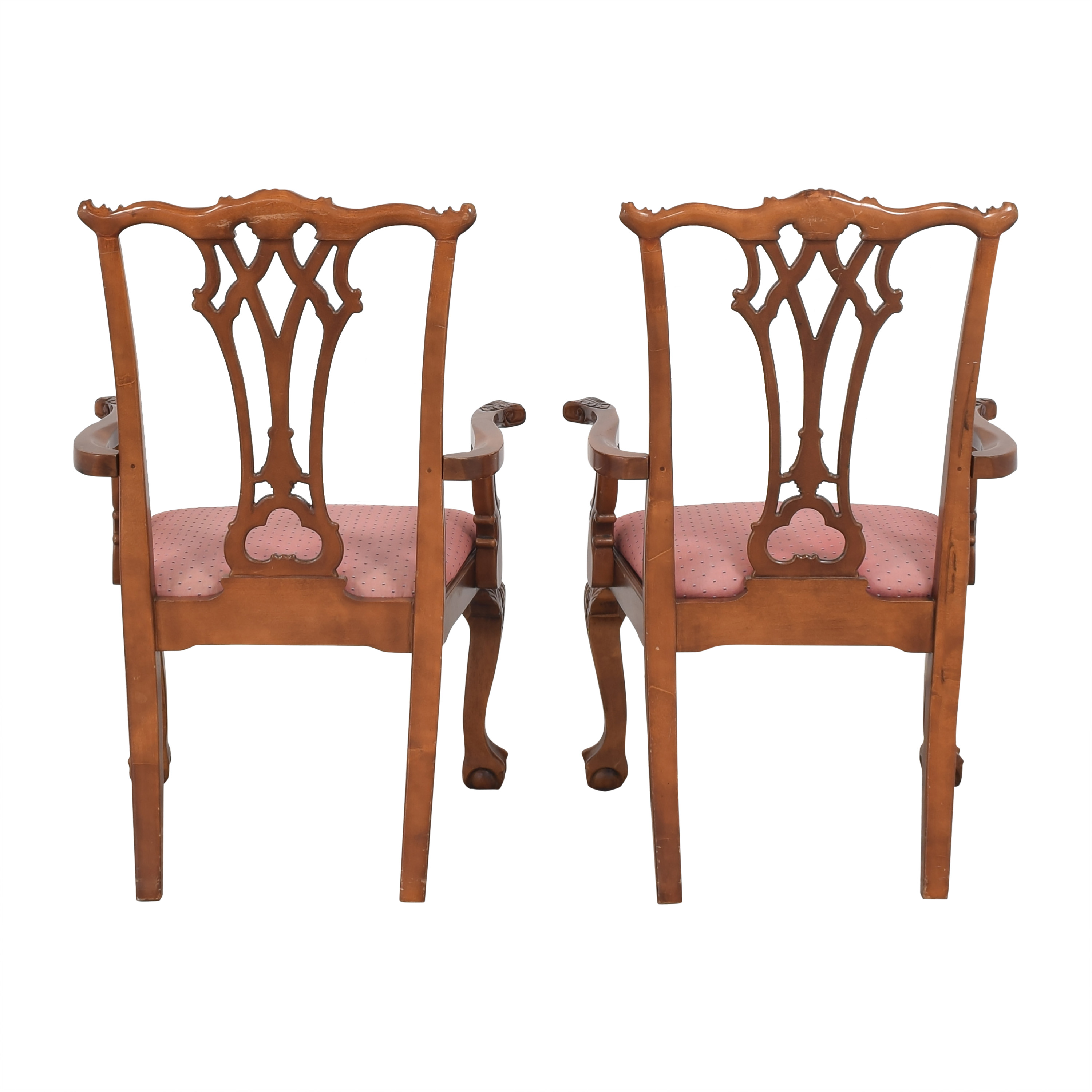 Chippendale-Style Dining Arm Chairs brown & red