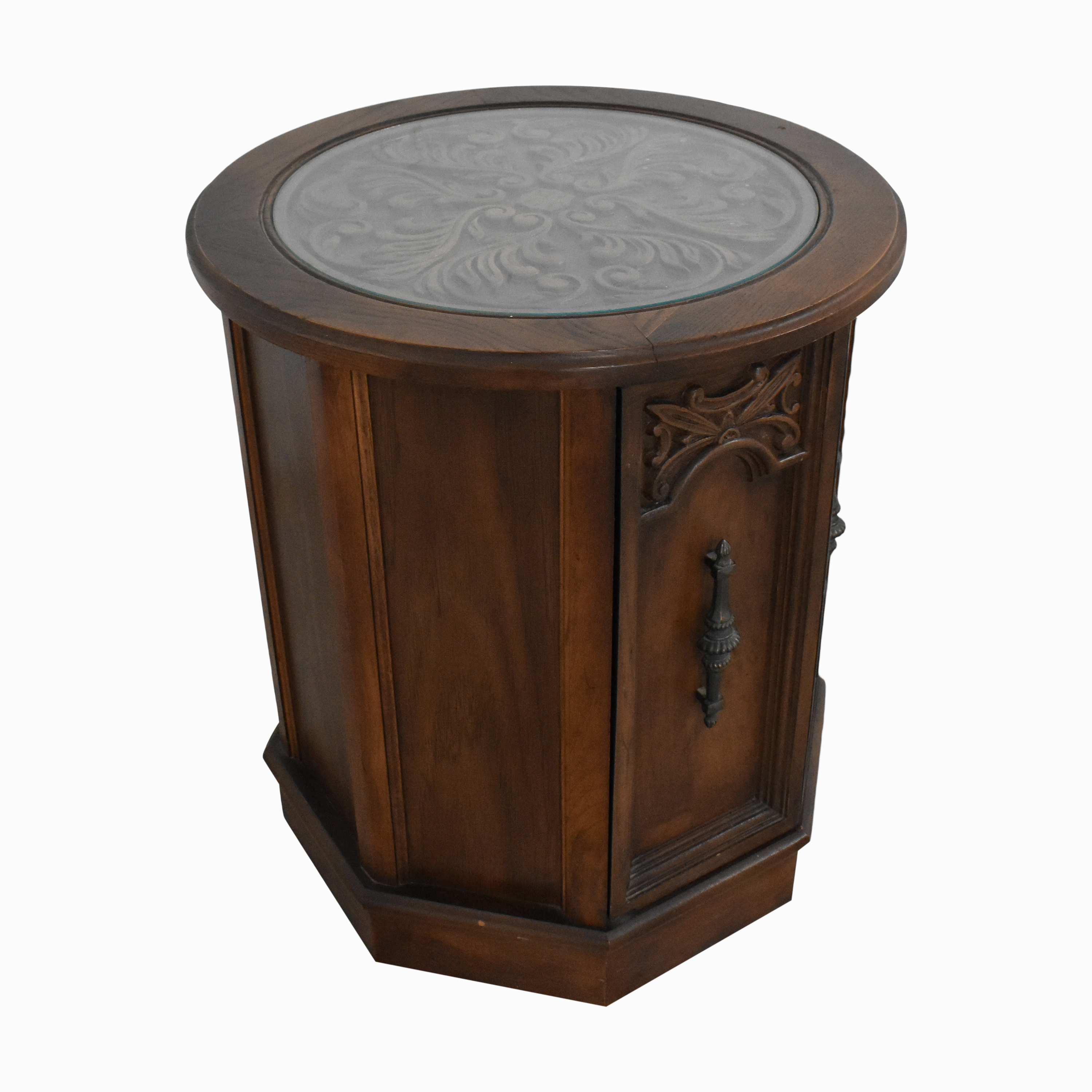 Octagonal Side Table with Cabinet used