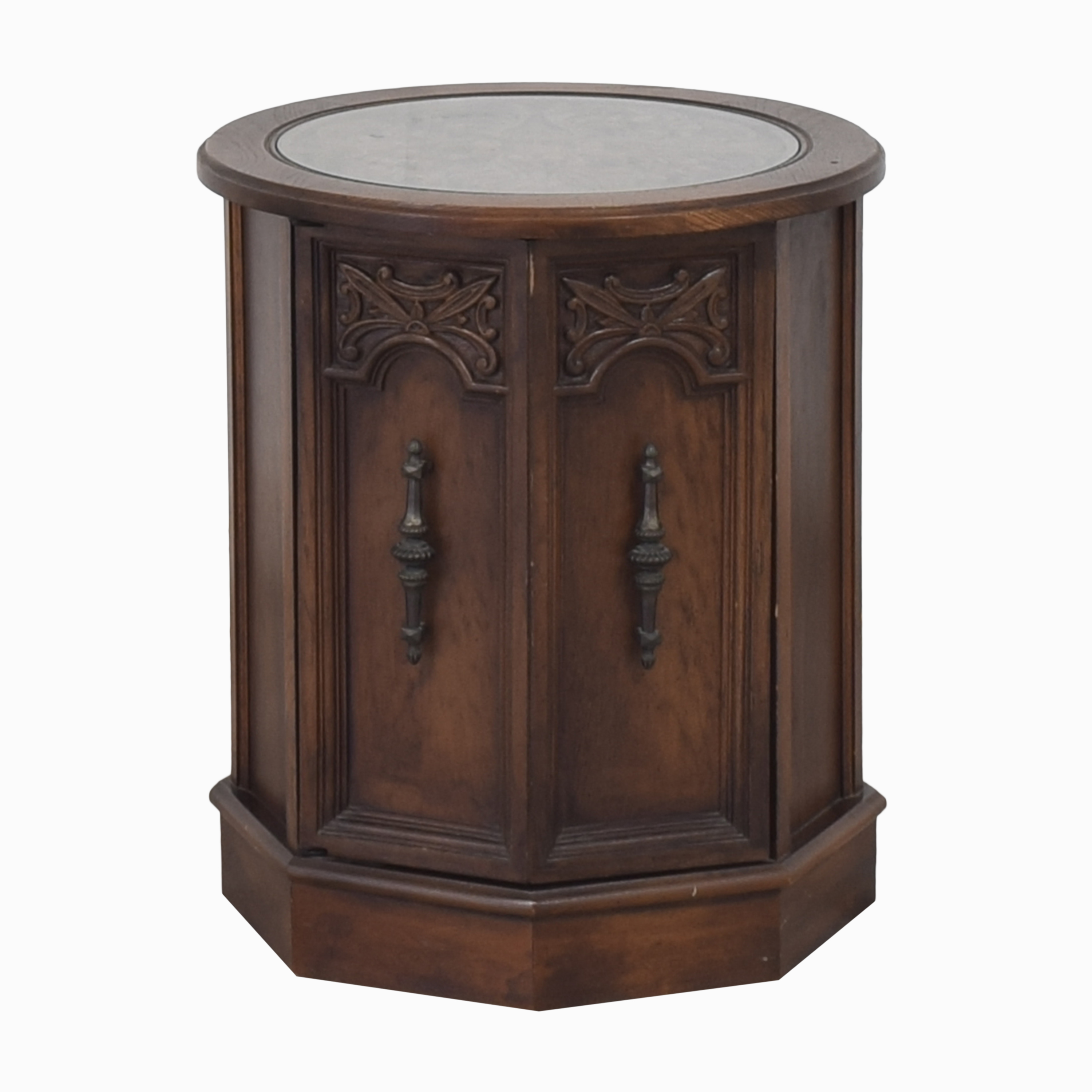 Octagonal Side Table with Cabinet