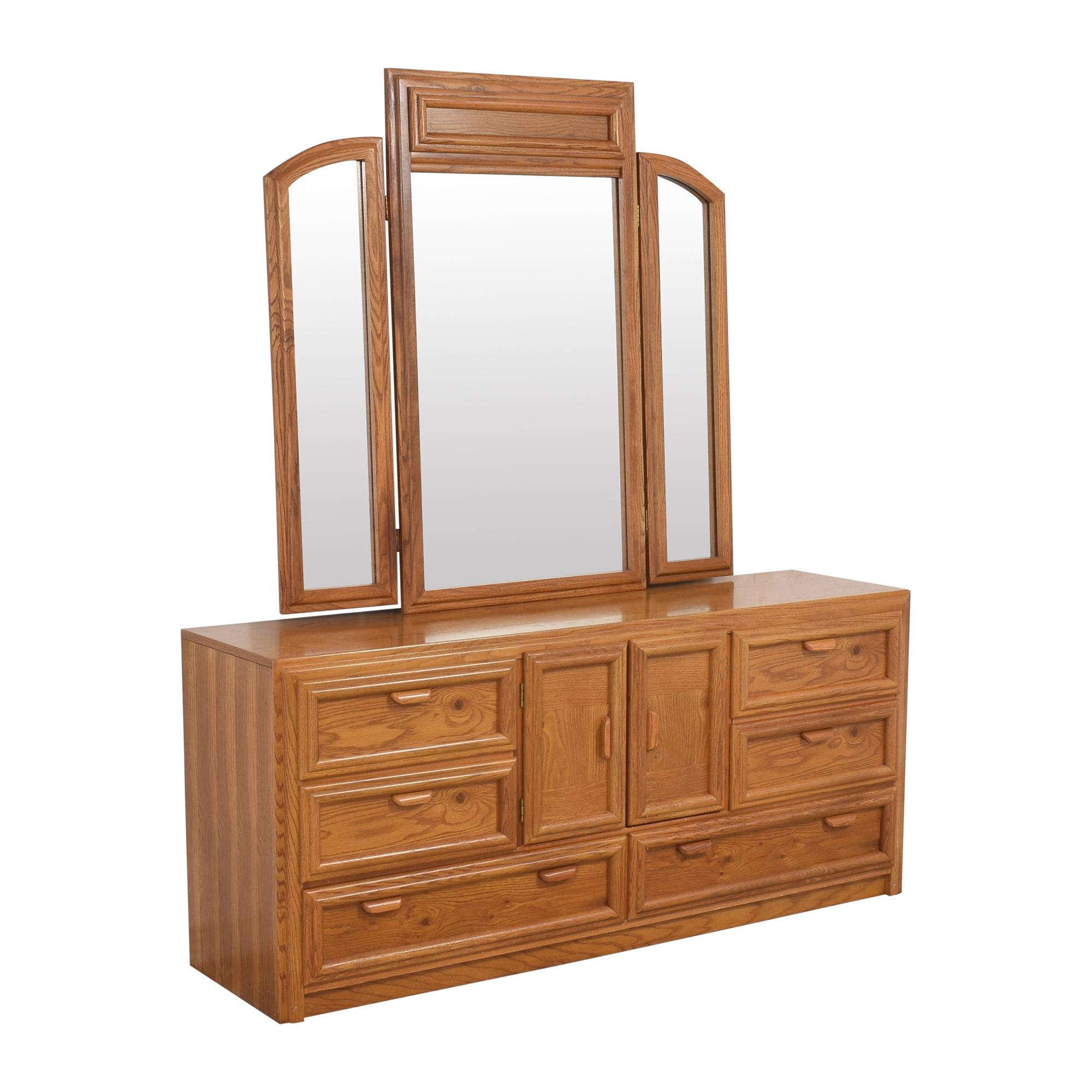 Bassett Furniture Bassett Triple Dresser With Trifold Mirror  second hand