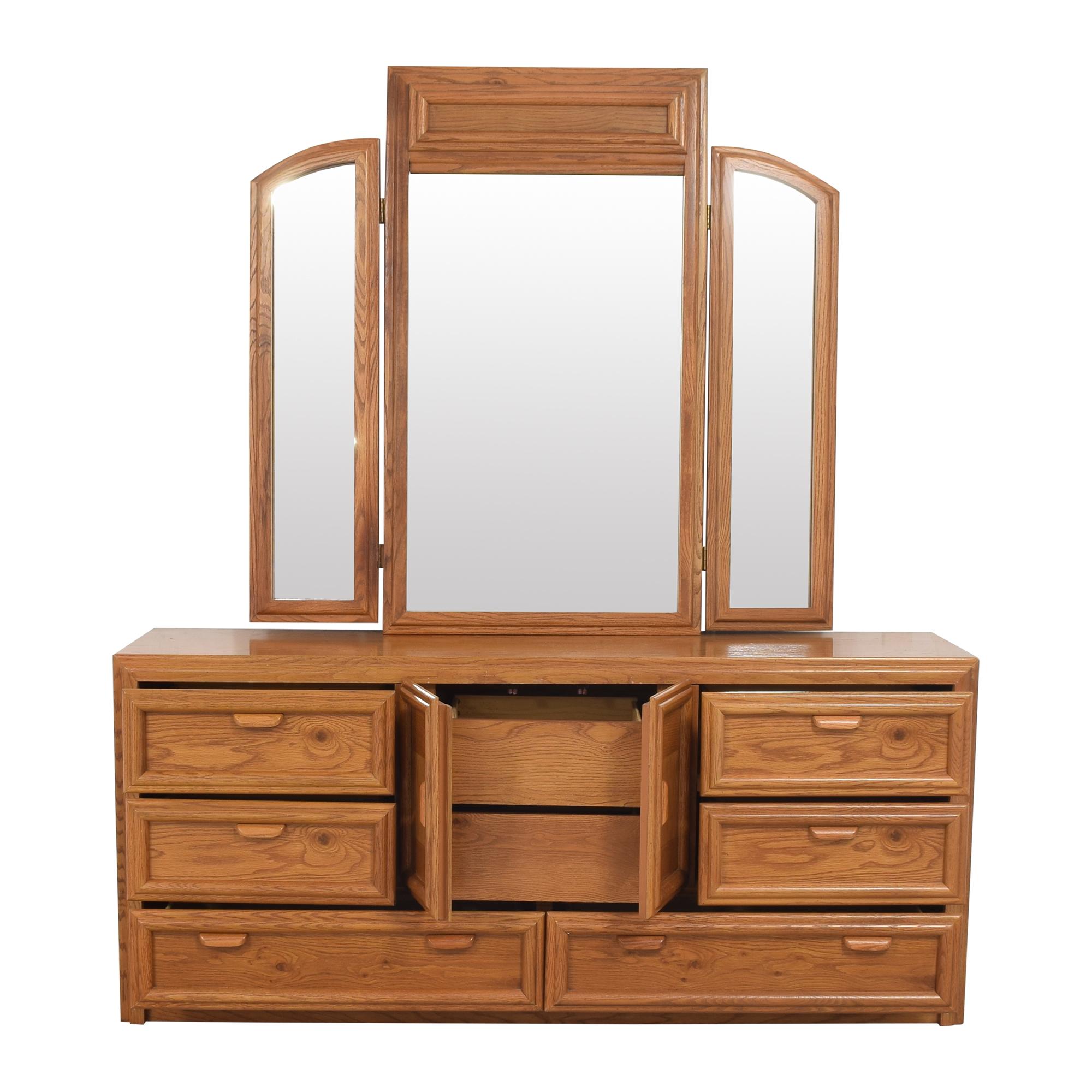 Bassett Triple Dresser With Trifold Mirror  Bassett Furniture