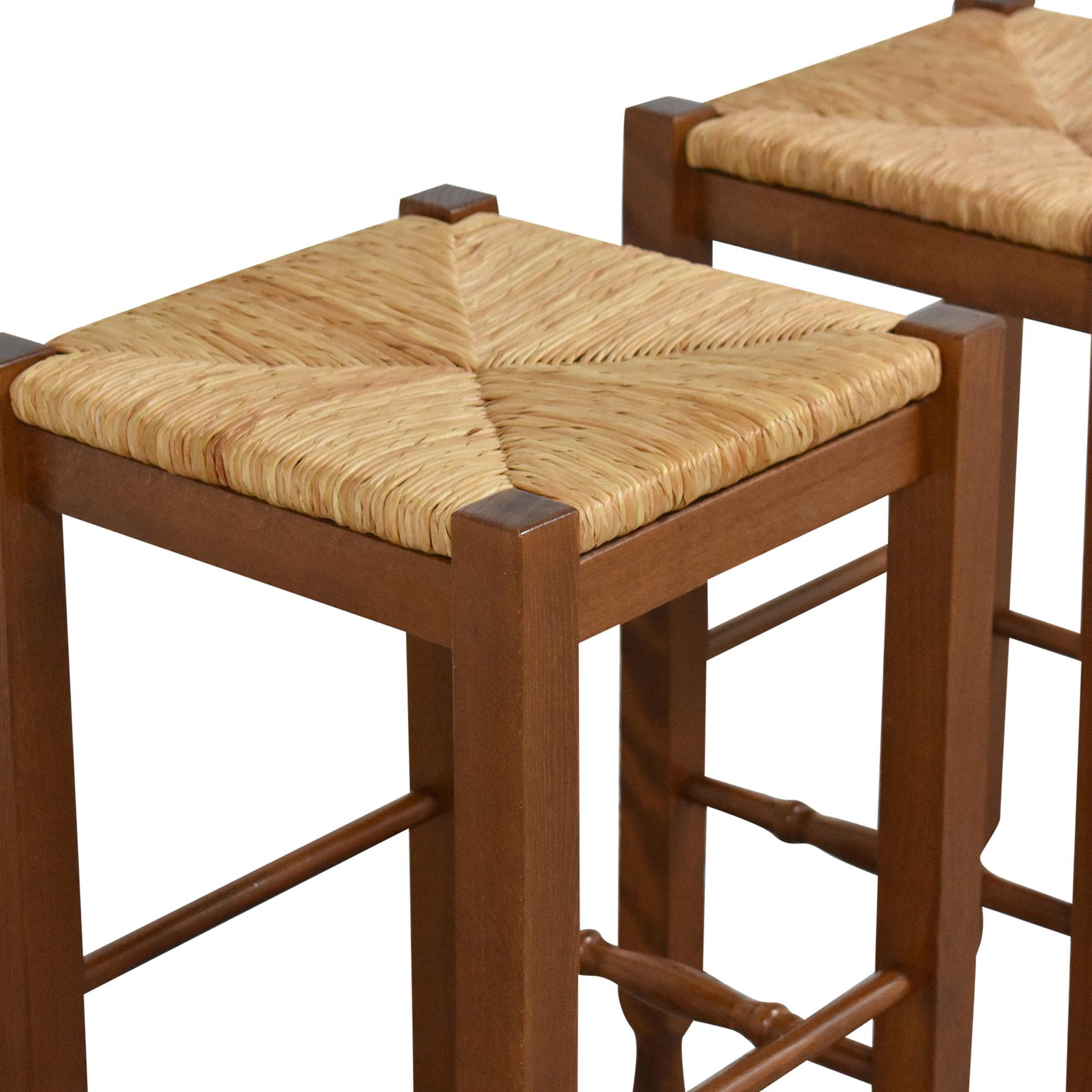 shop Crate & Barrel Woven Backless Stools Crate & Barrel