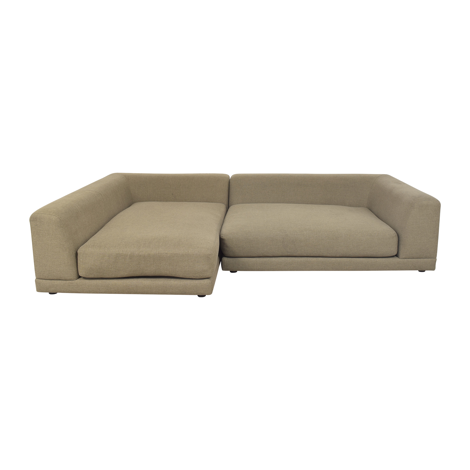 CB2 CB2 Uno Two Piece Sectional Sofa grey