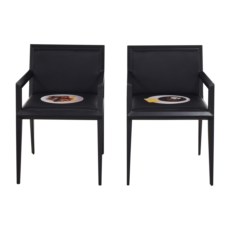 Bernhardt Custom Graphic Whisper Arm Chairs / Dining Chairs