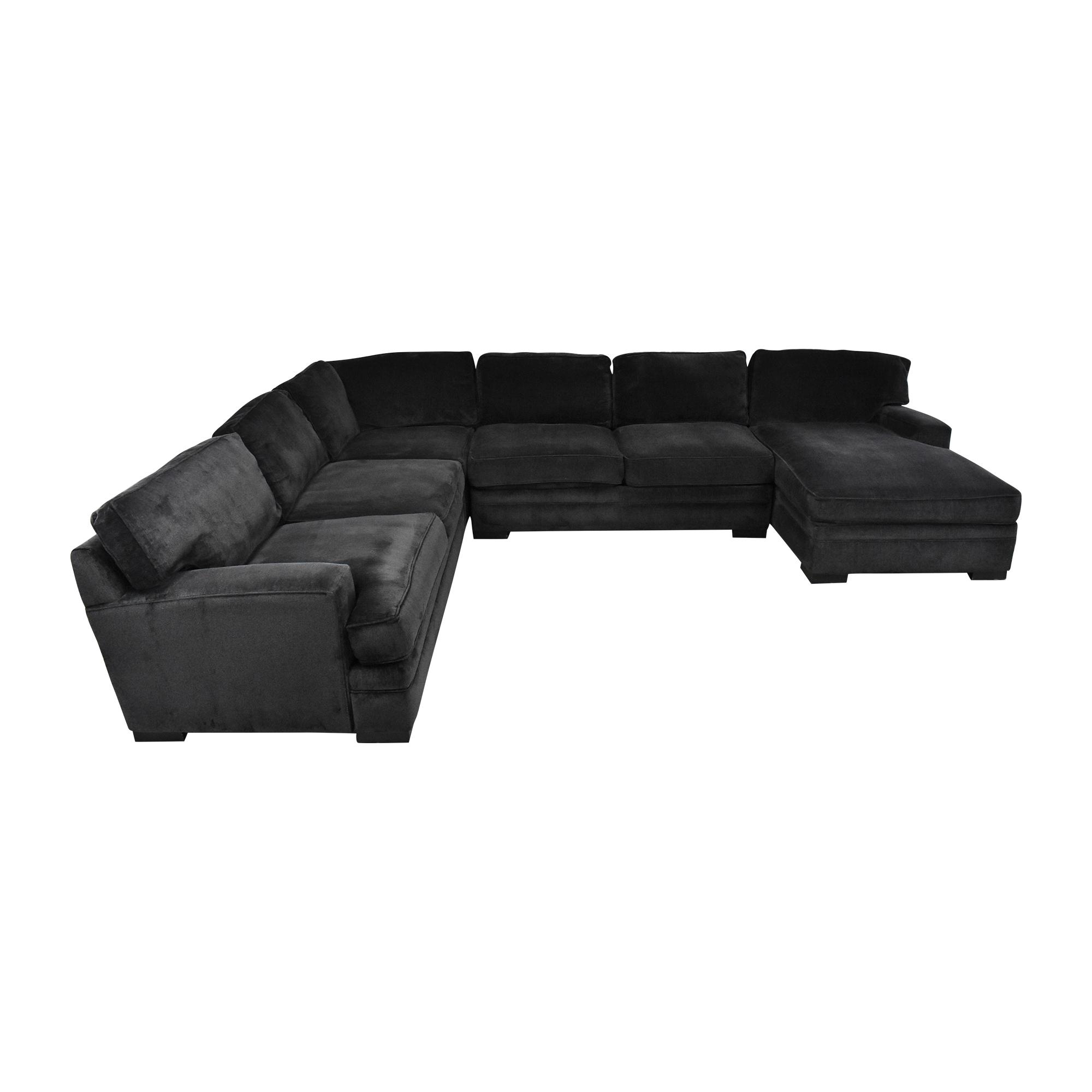 Macy's Macy's Teddy Four Piece Chaise Sectional Sofa dark grey