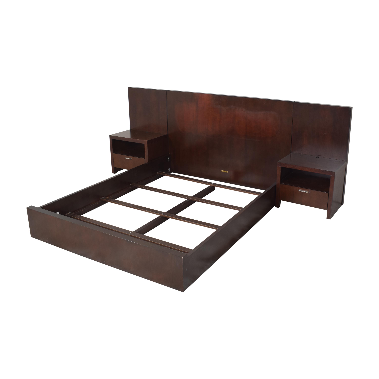 Ethan Allen Ethan Allen Morgan Panel Queen Bed with Nightstands dark brown