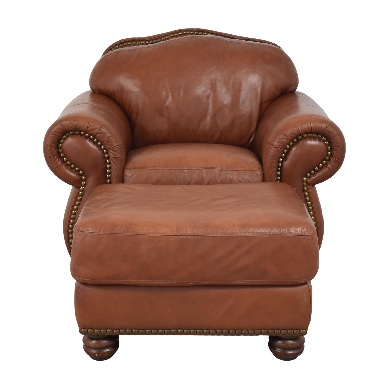 Chateau d'Ax Roll Arm Nailhead Club Chair with Ottoman / Chairs