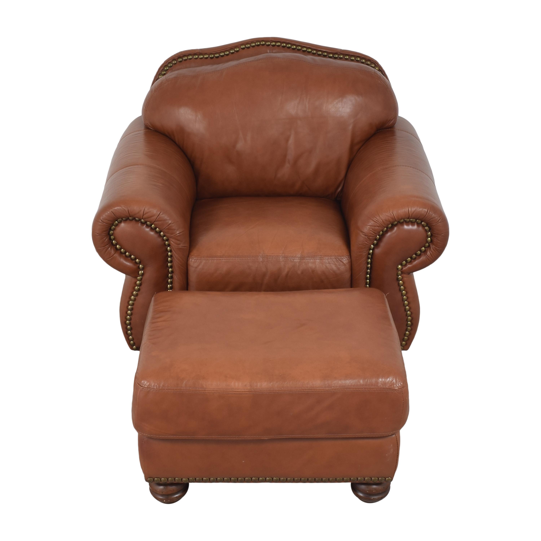 buy Chateau d'Ax Chateau d'Ax Roll Arm Nailhead Club Chair with Ottoman online