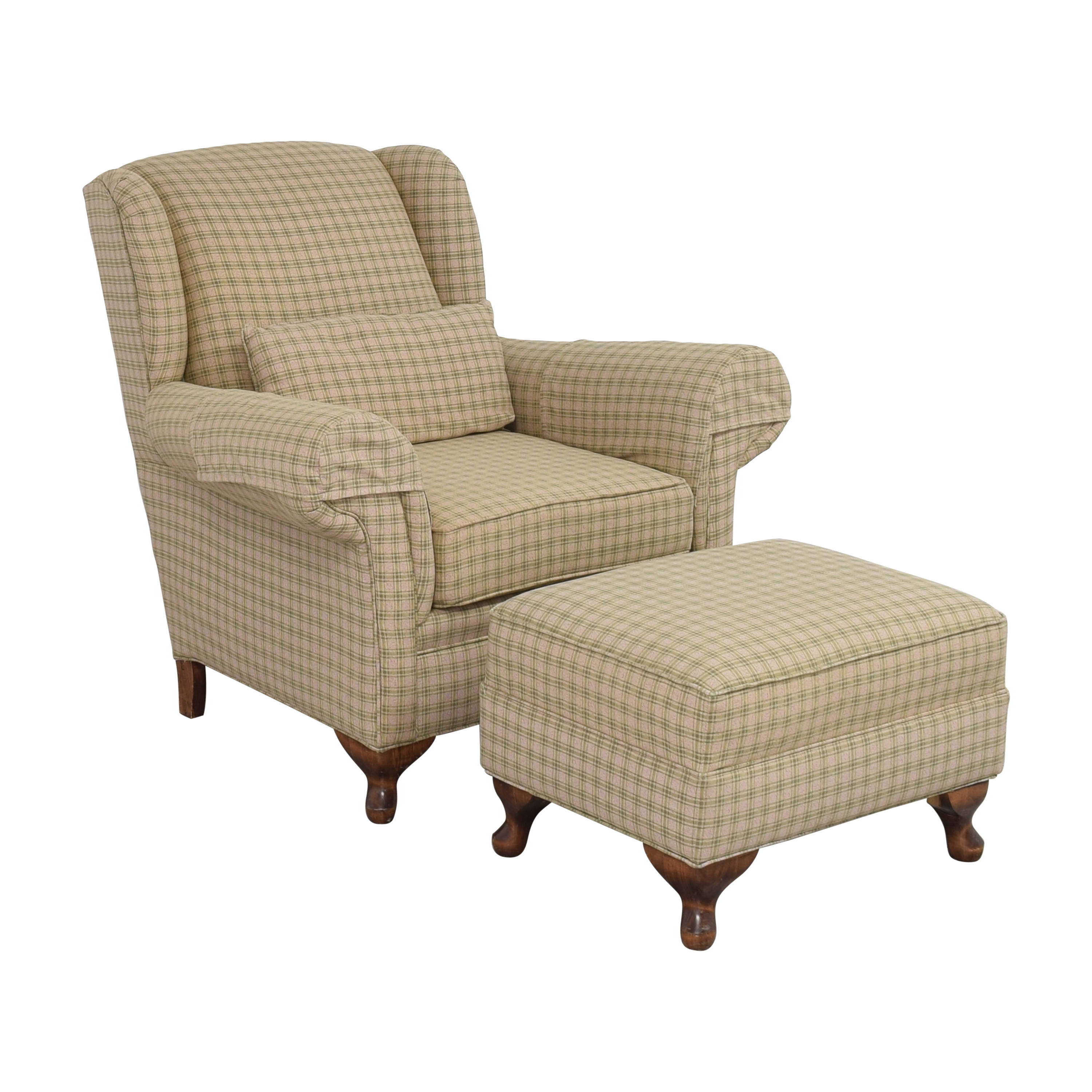 Roll Arm Chair with Ottoman