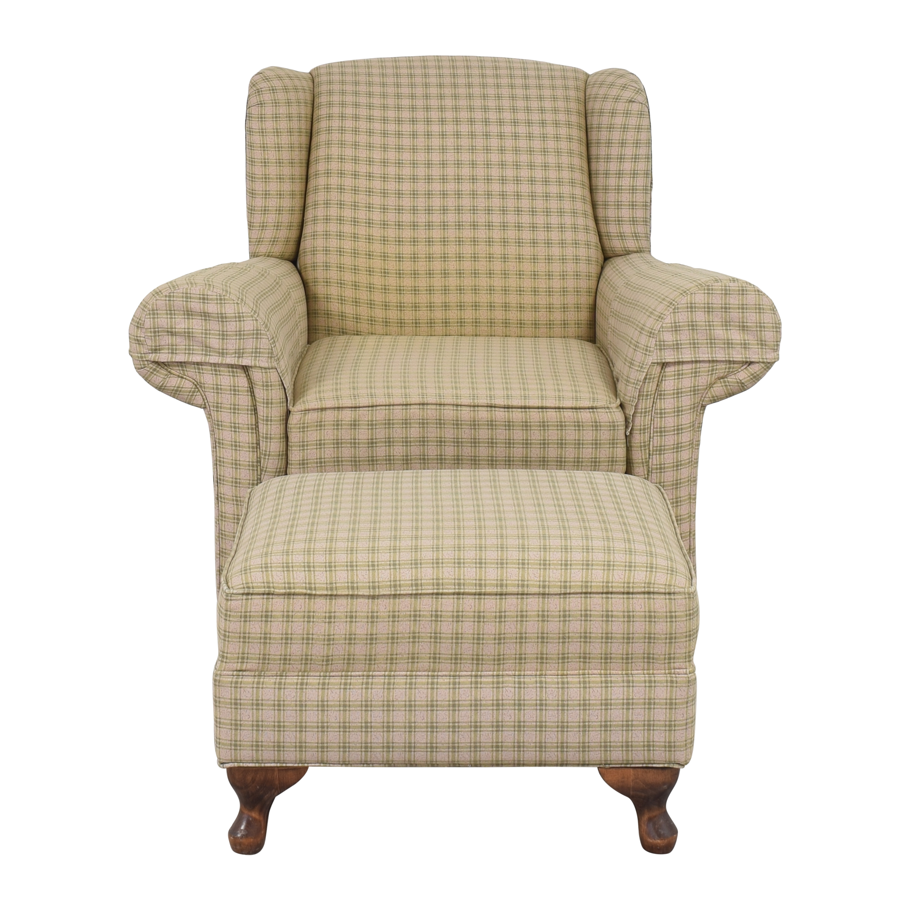 Roll Arm Chair with Ottoman for sale