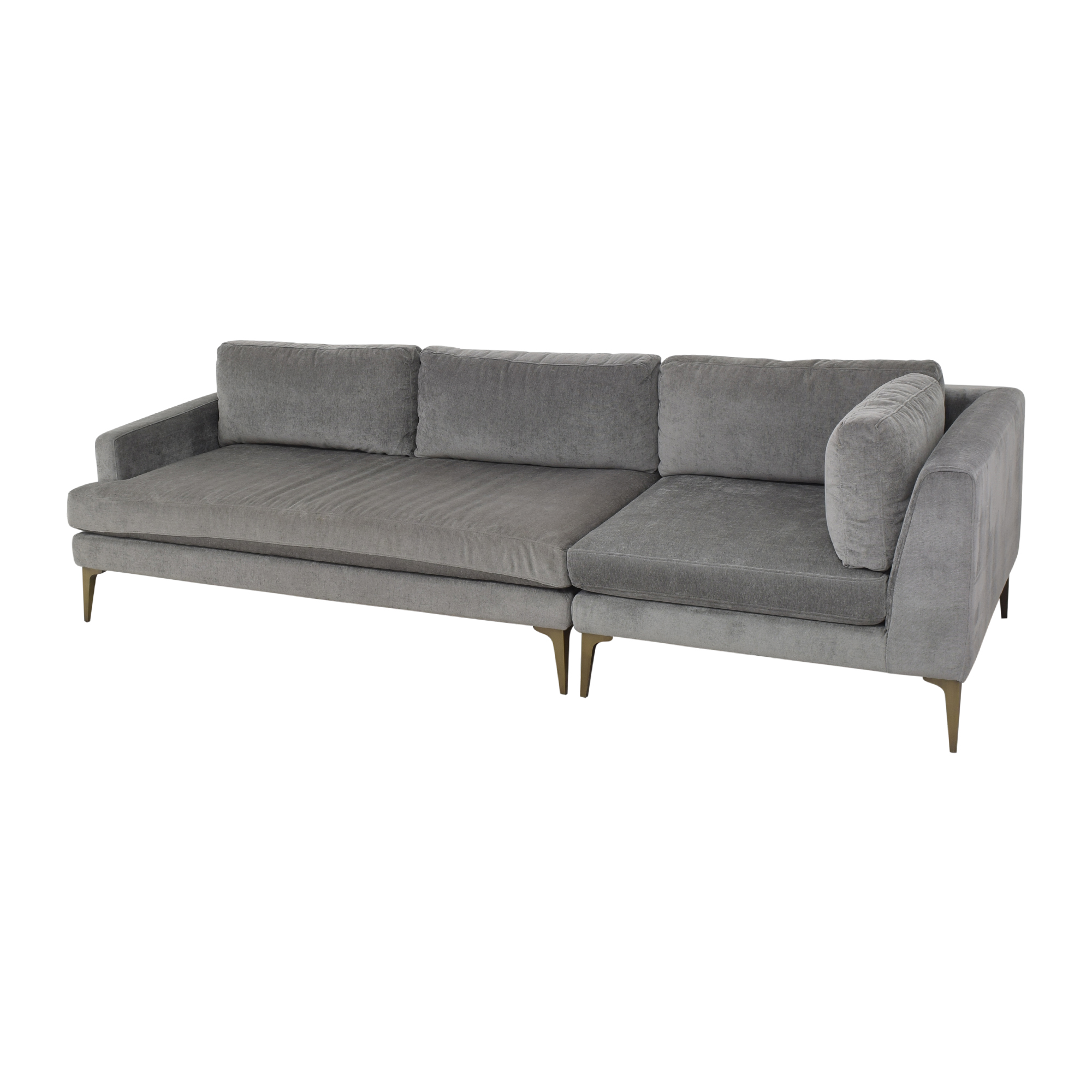 shop West Elm Andes Three Piece Chaise Sectional West Elm Sofas
