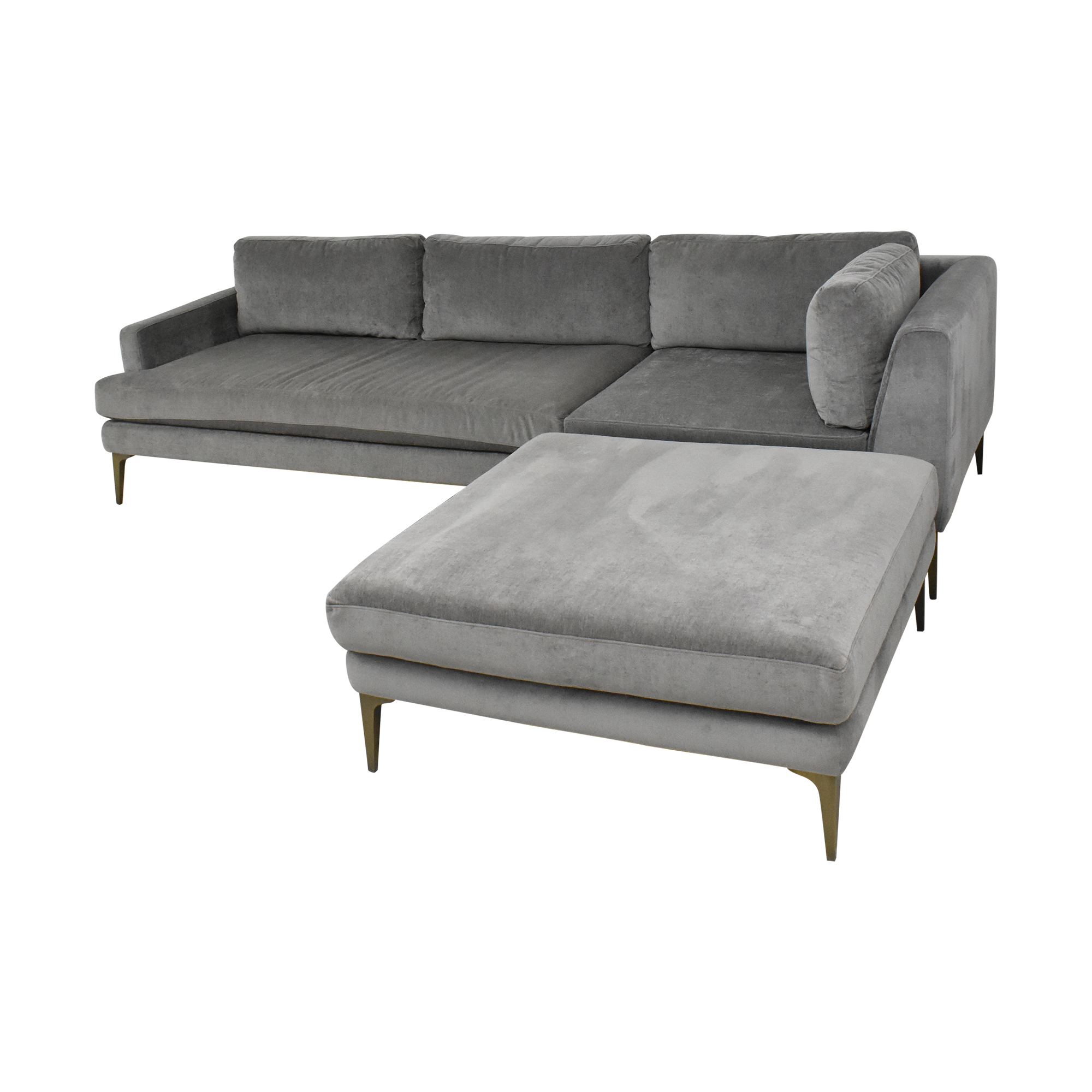 West Elm Andes Three Piece Chaise Sectional / Sofas
