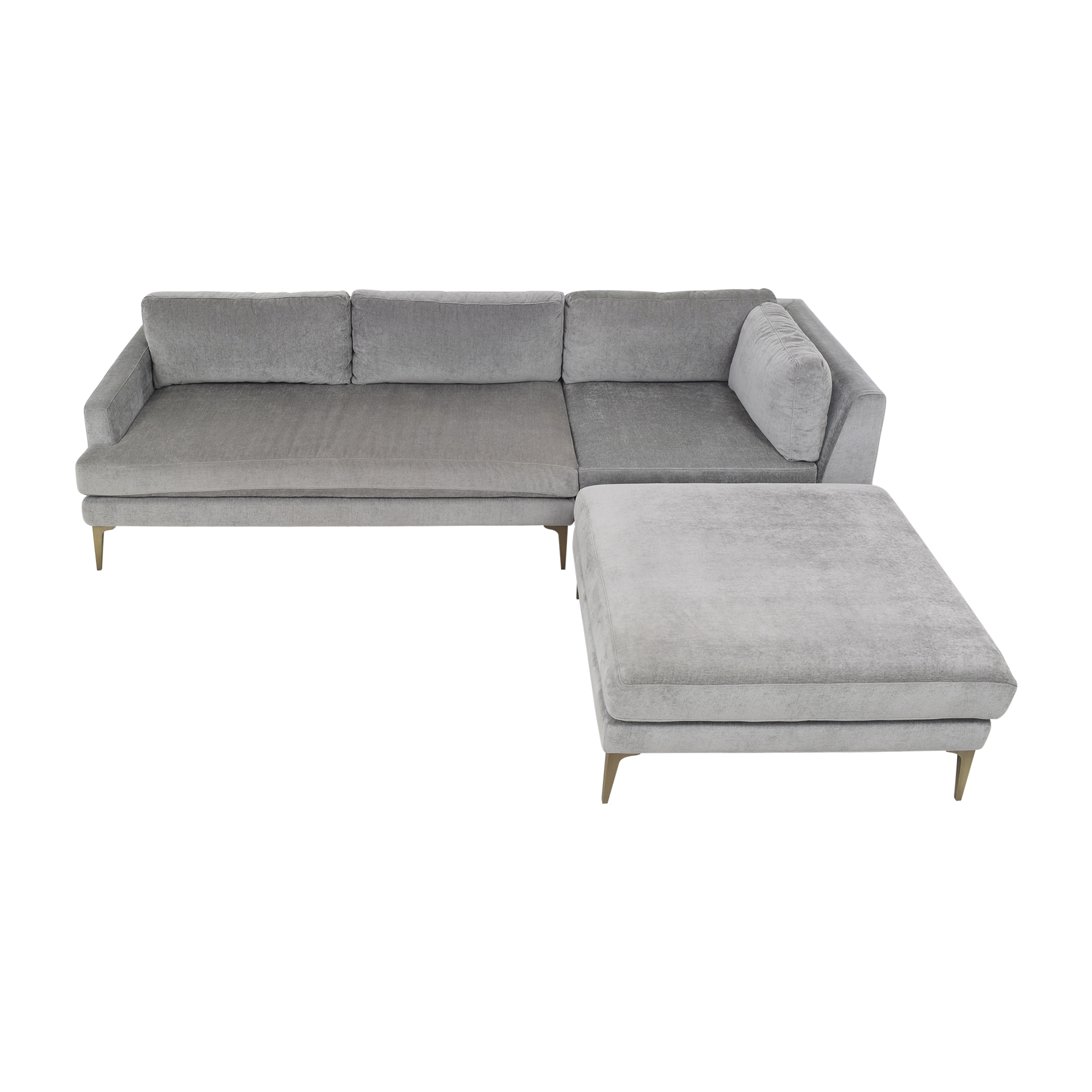 West Elm West Elm Andes Three Piece Chaise Sectional grey