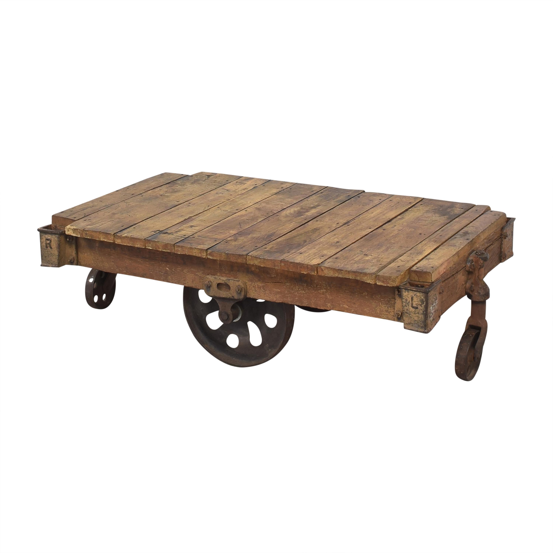 Vintage Industrial Rolling Cart Coffee Table nj