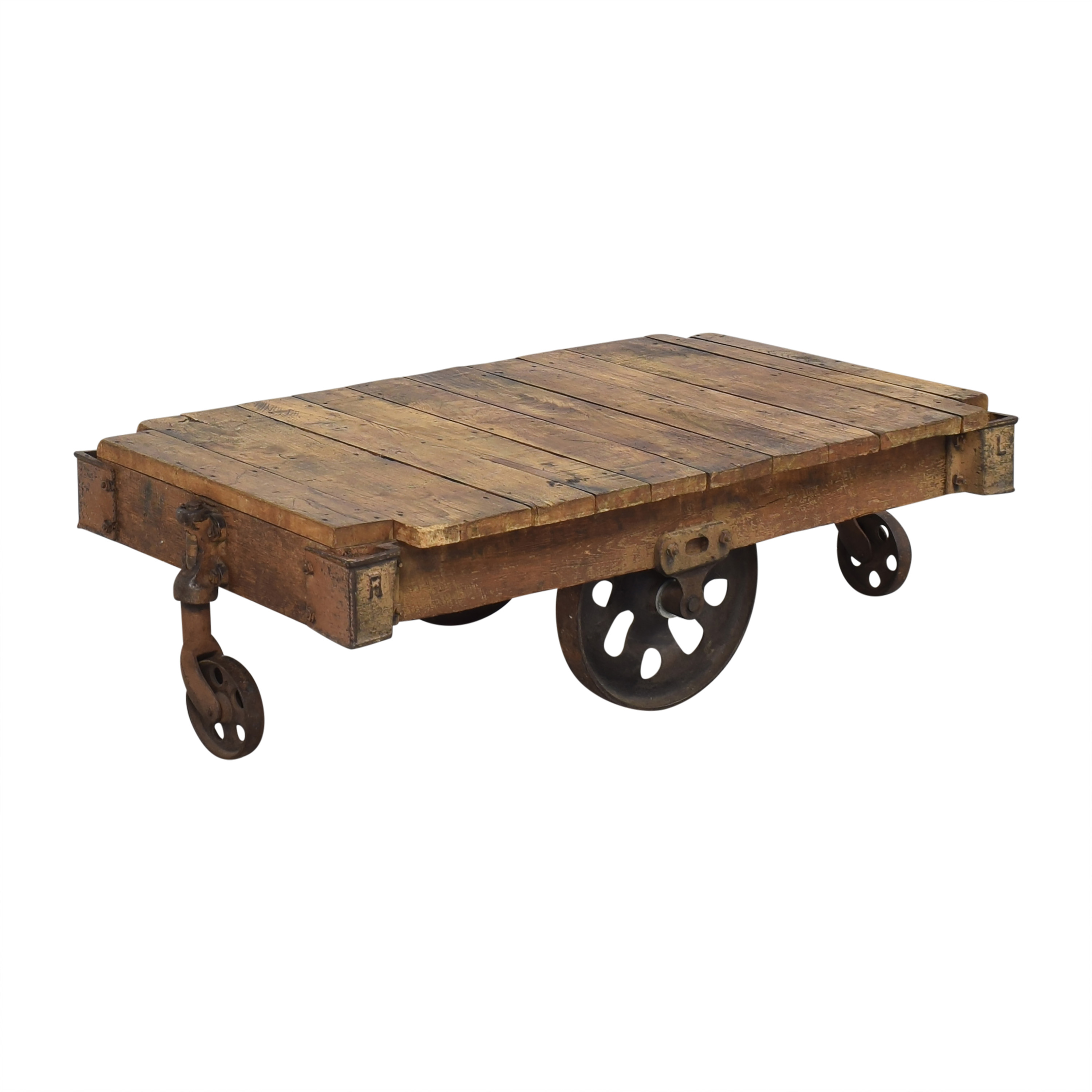 Vintage Industrial Rolling Cart Coffee Table ma