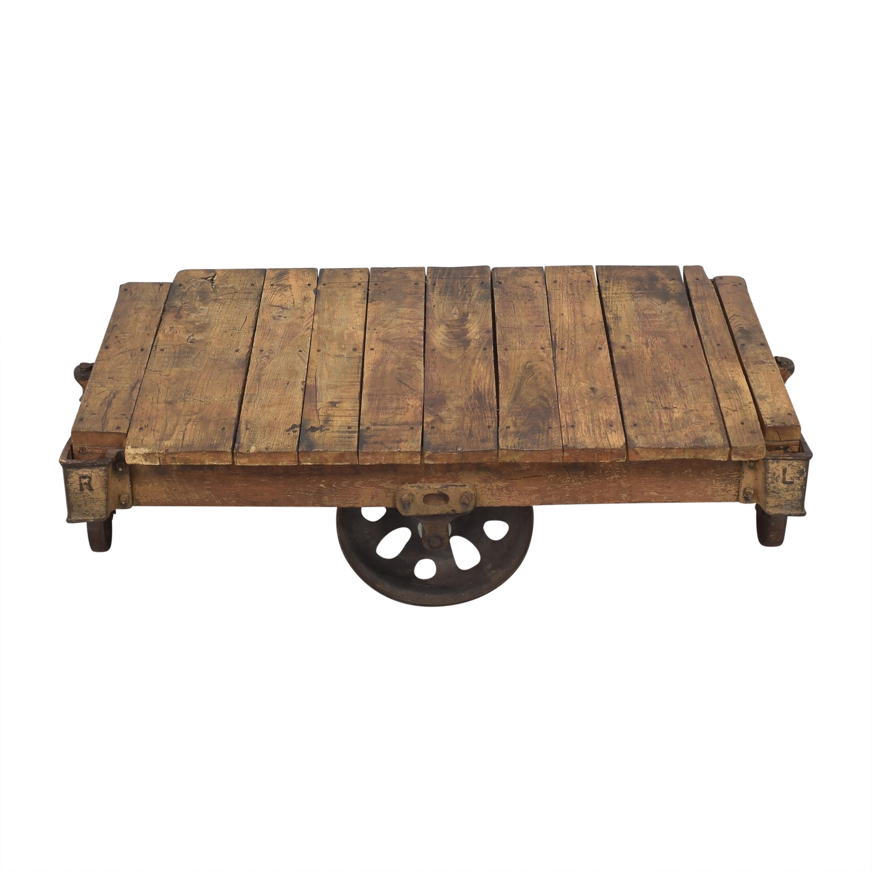 Vintage Industrial Rolling Cart Coffee Table used