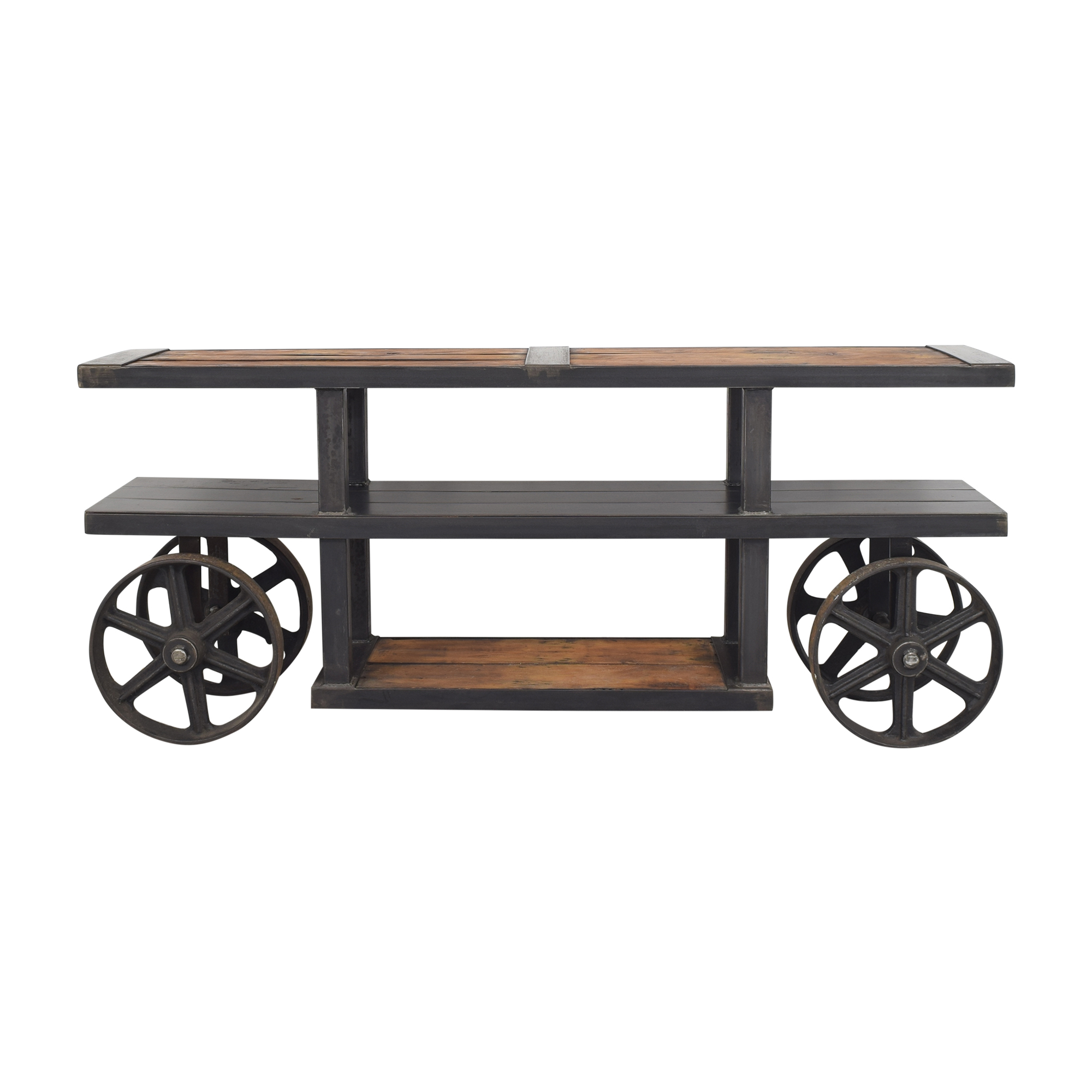 Custom Industrial Media Stand dark gray and brown