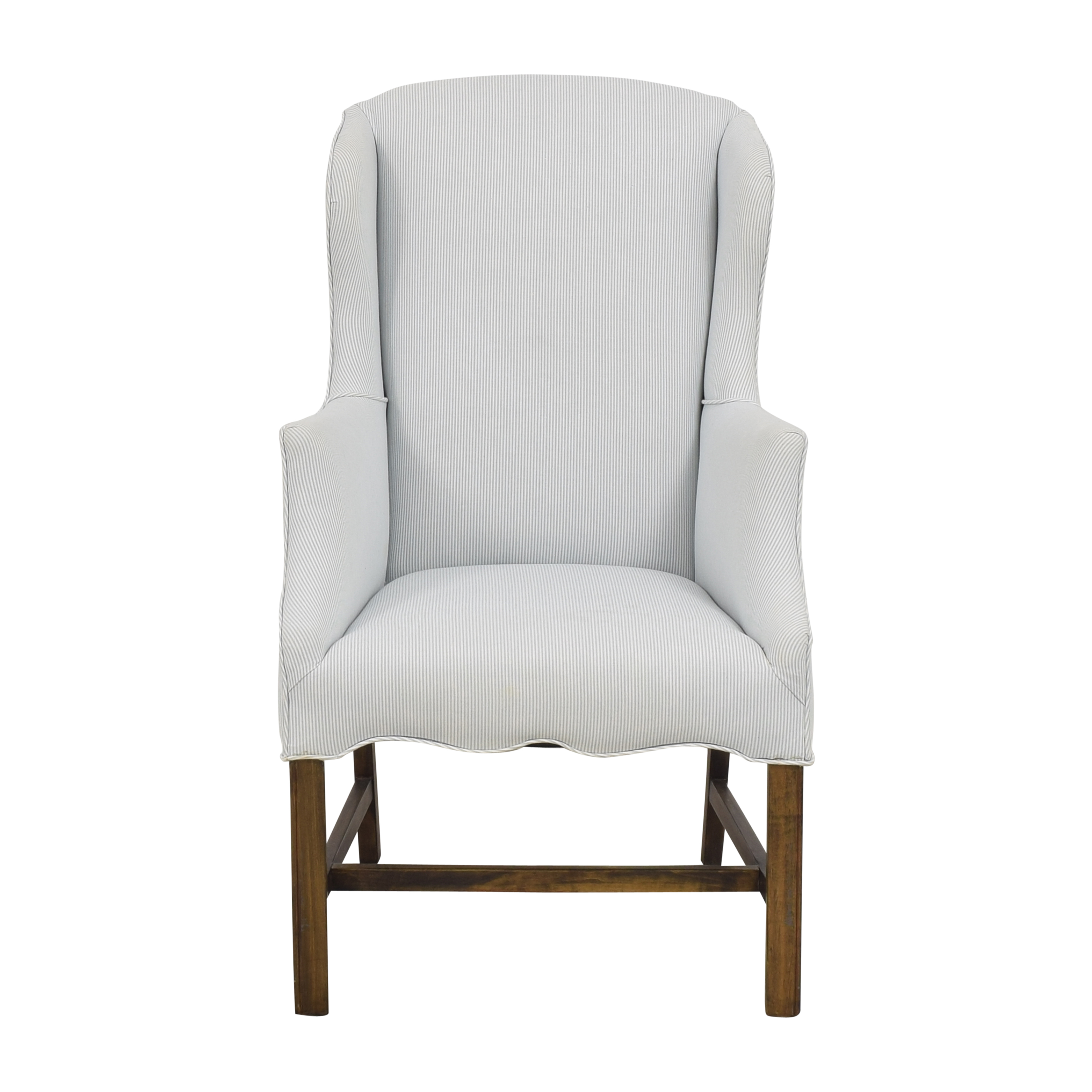 Striped Wingback Accent Chair light blue and white