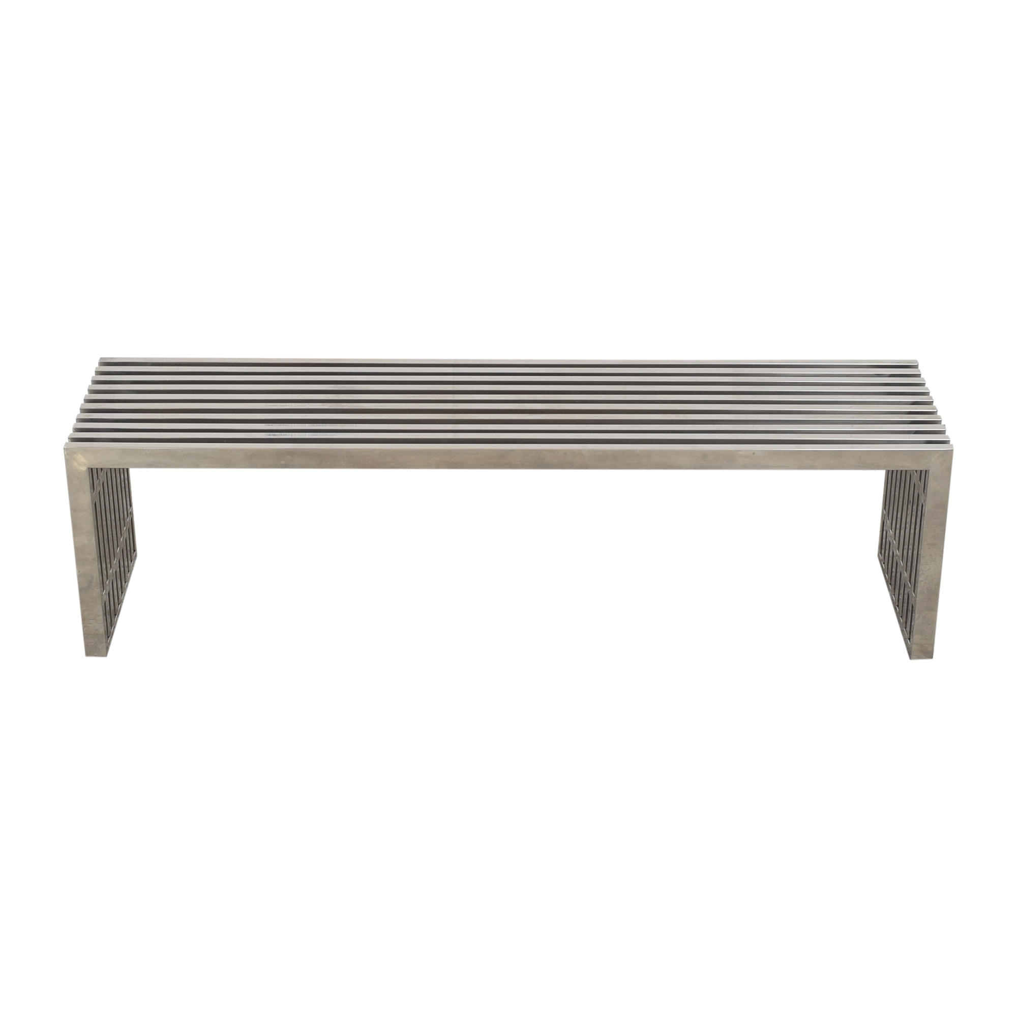Milo Baughman-Style Slatted Double Bench  / Chairs