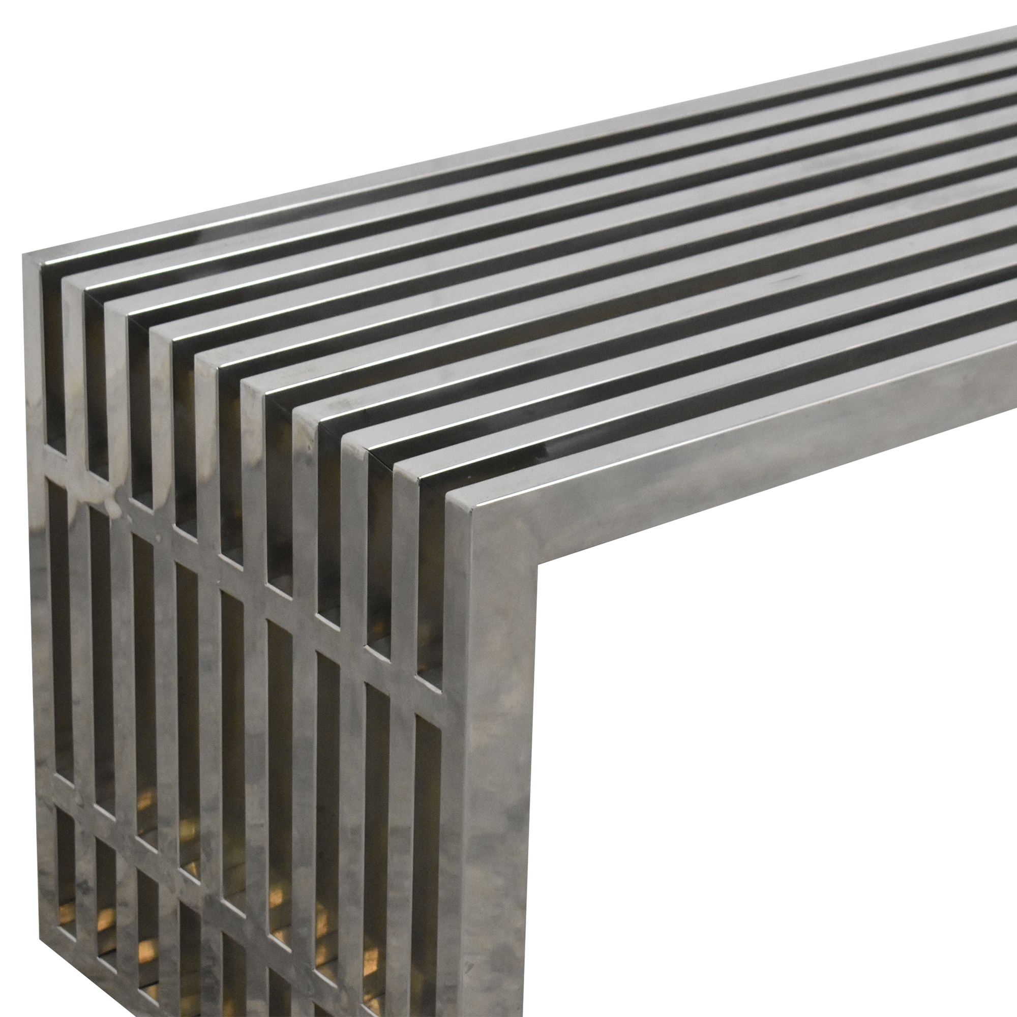 Milo Baughman-Style Slatted Double Bench  dimensions