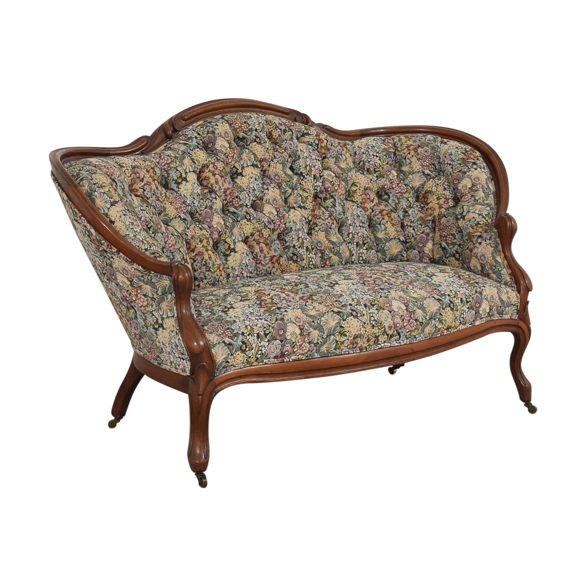 Vintage Floral Tufted Settee dimensions