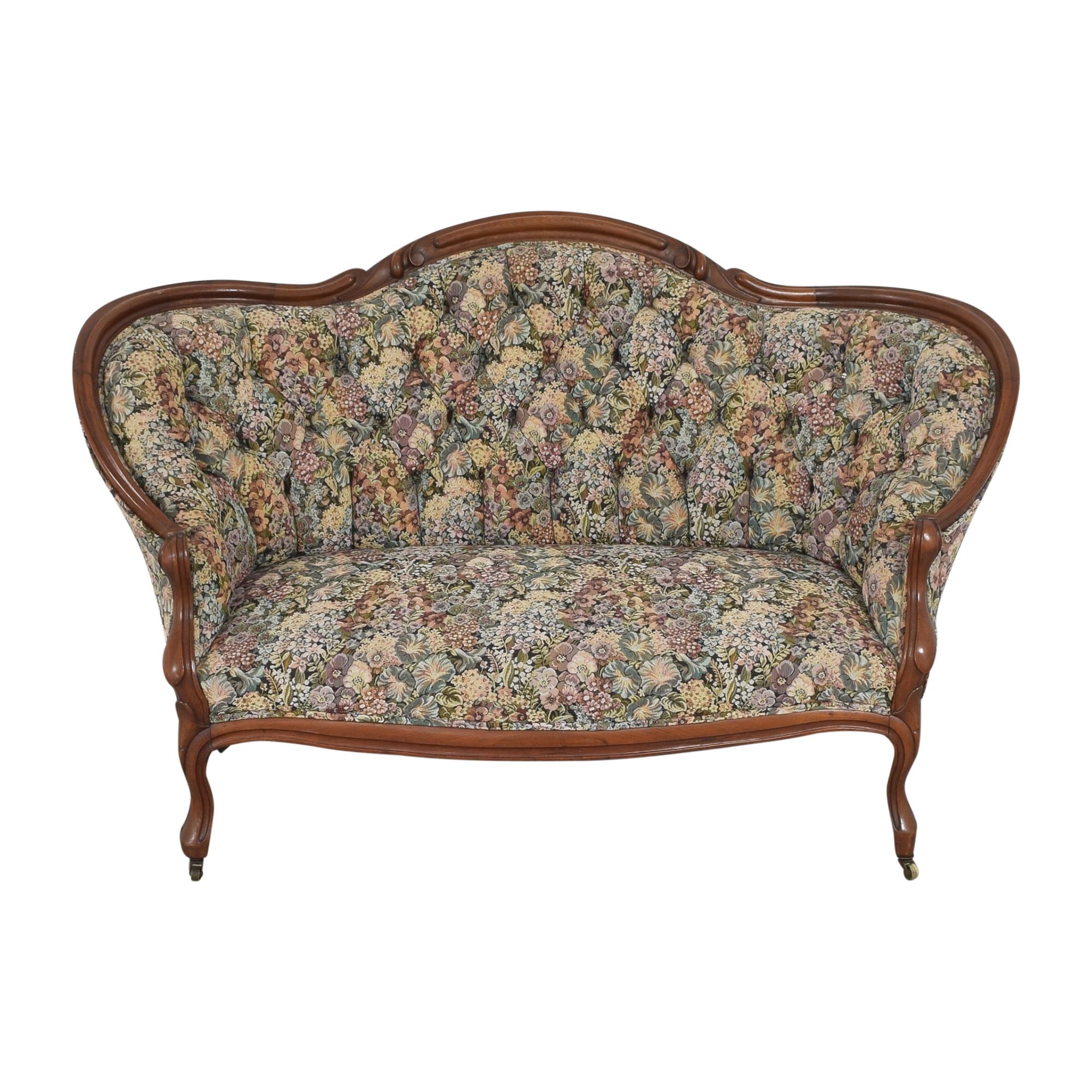 Vintage Floral Tufted Settee multi
