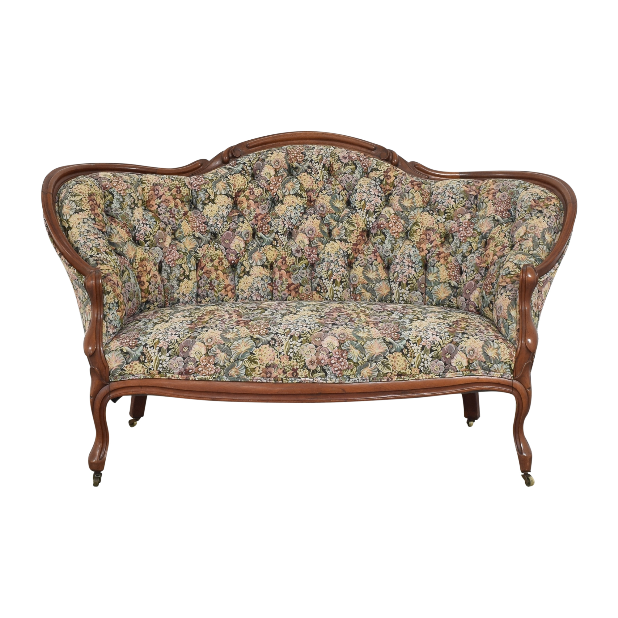Vintage Floral Tufted Settee second hand