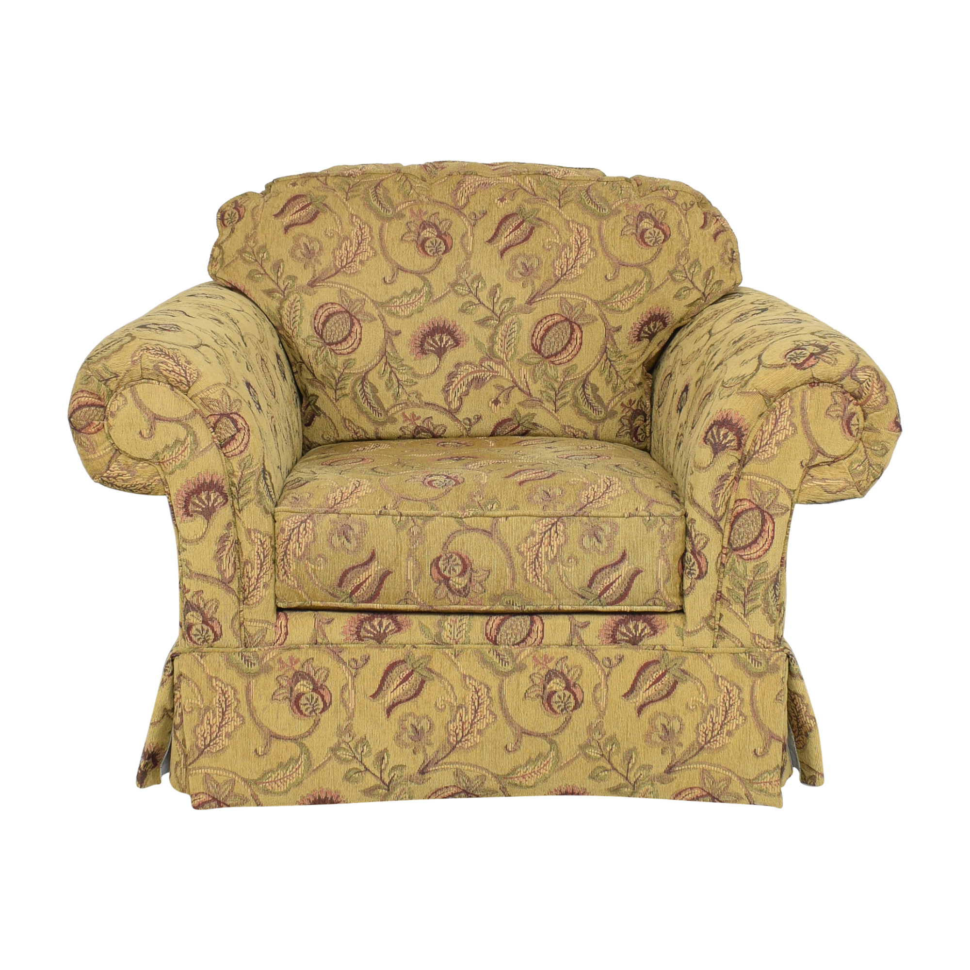 Broyhill Furniture Broyhill Furniture Roll Arm Chair with Ottoman second hand