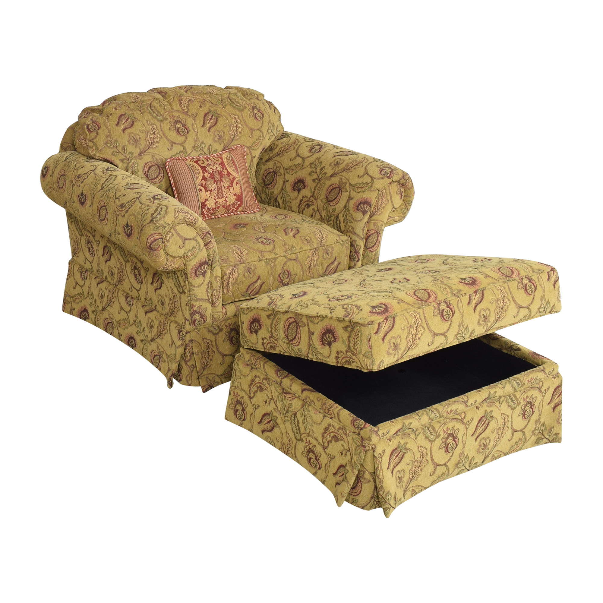 Broyhill Furniture Broyhill Furniture Roll Arm Chair with Ottoman ct