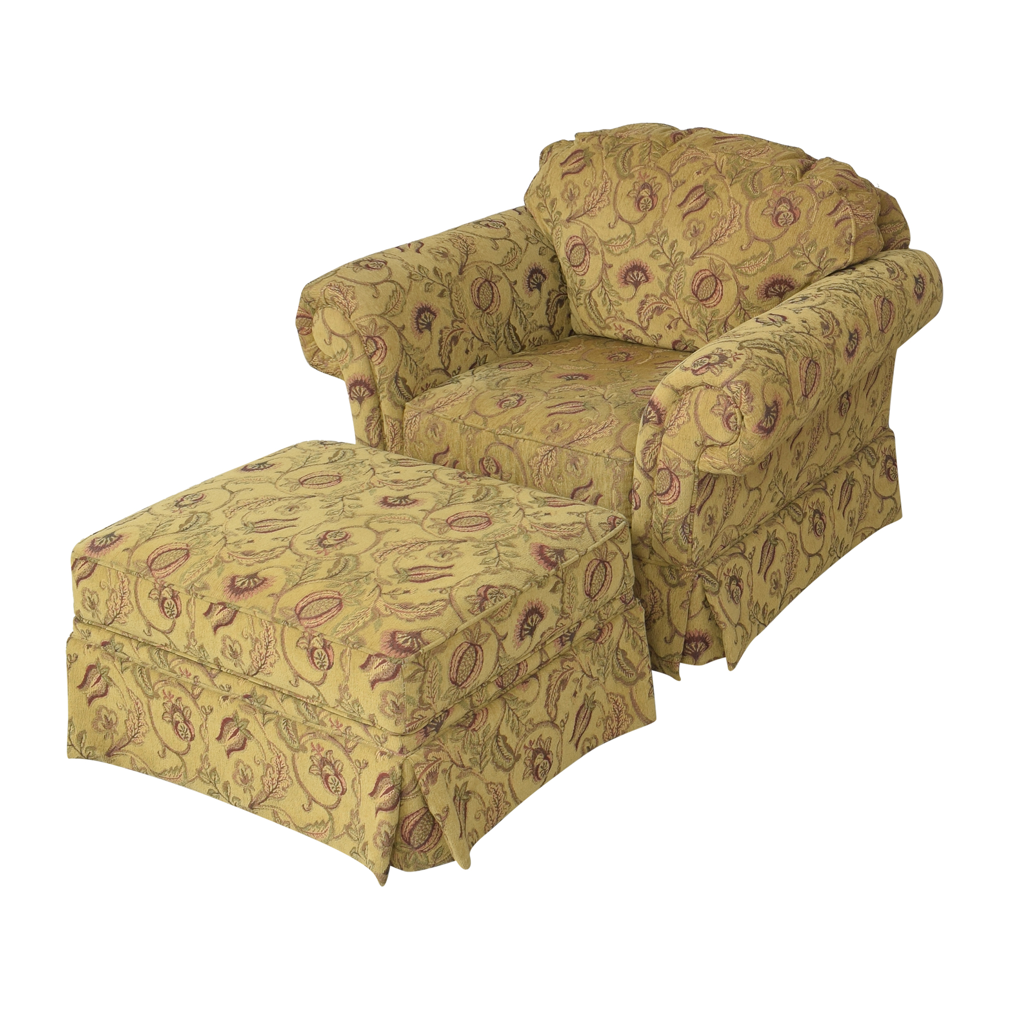 Broyhill Furniture Broyhill Furniture Roll Arm Chair with Ottoman nj