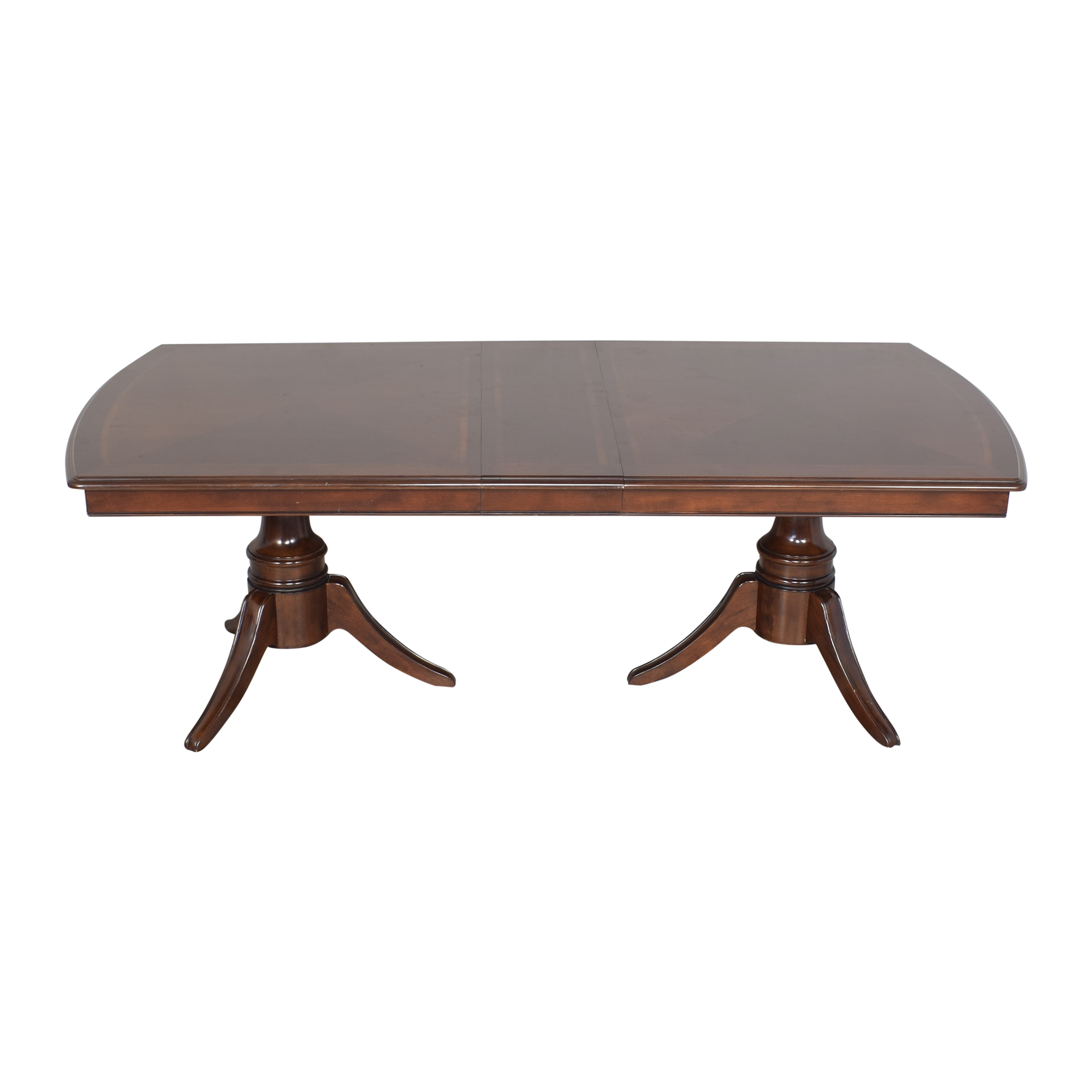 Raymour & Flanigan Raymour & Flanigan Double Pedestal Extendable Dining Table pa